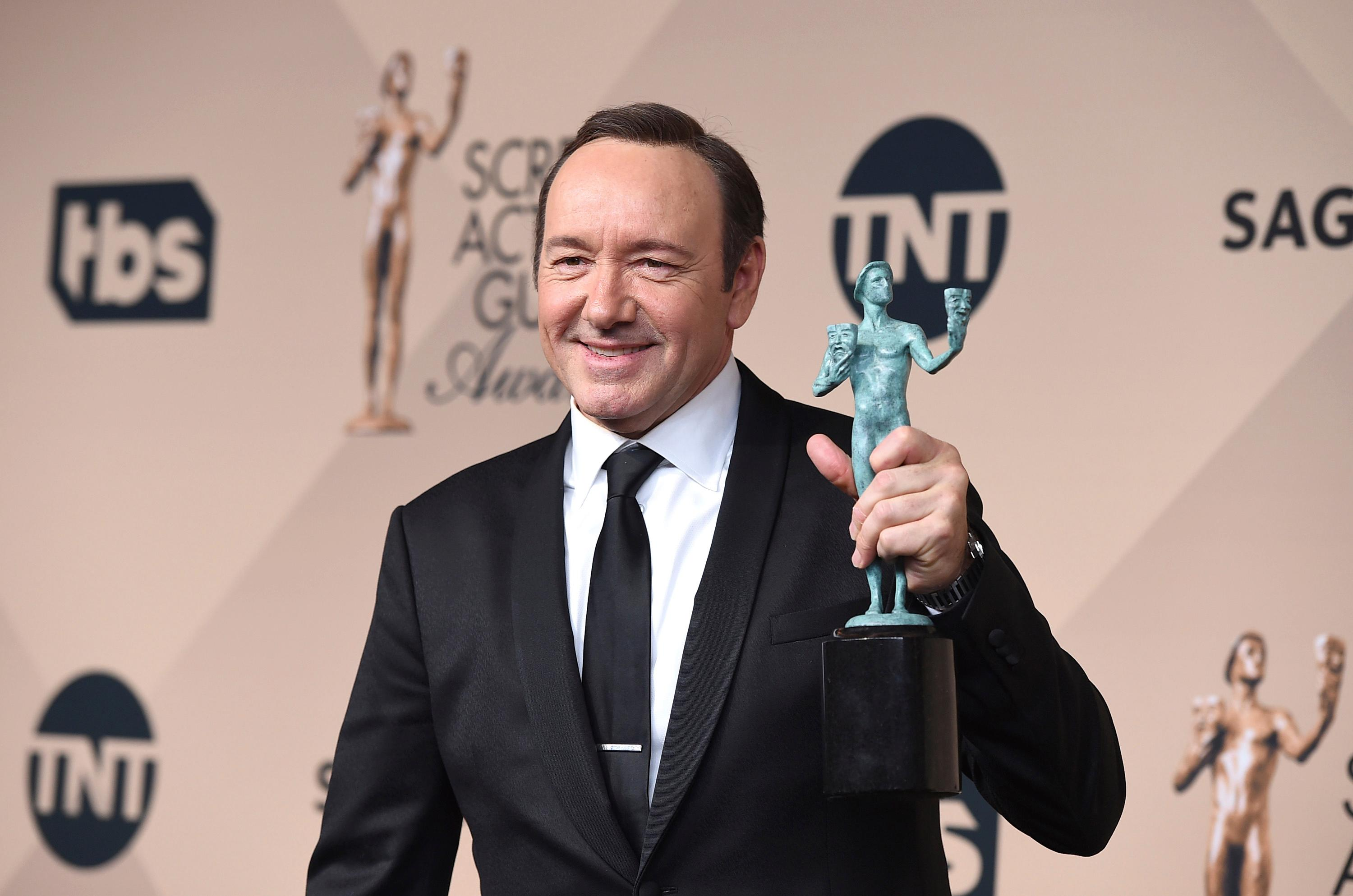 "FILE - In a Jan. 30, 2016 file photo, Kevin Spacey poses in the press room with the award for outstanding male actor in a drama series for ""House of Cards"" at the 22nd annual Screen Actors Guild Awards at the Shrine Auditorium & Expo Hall, in Los Angeles. (Photo by Jordan Strauss/Invision/AP, File)"