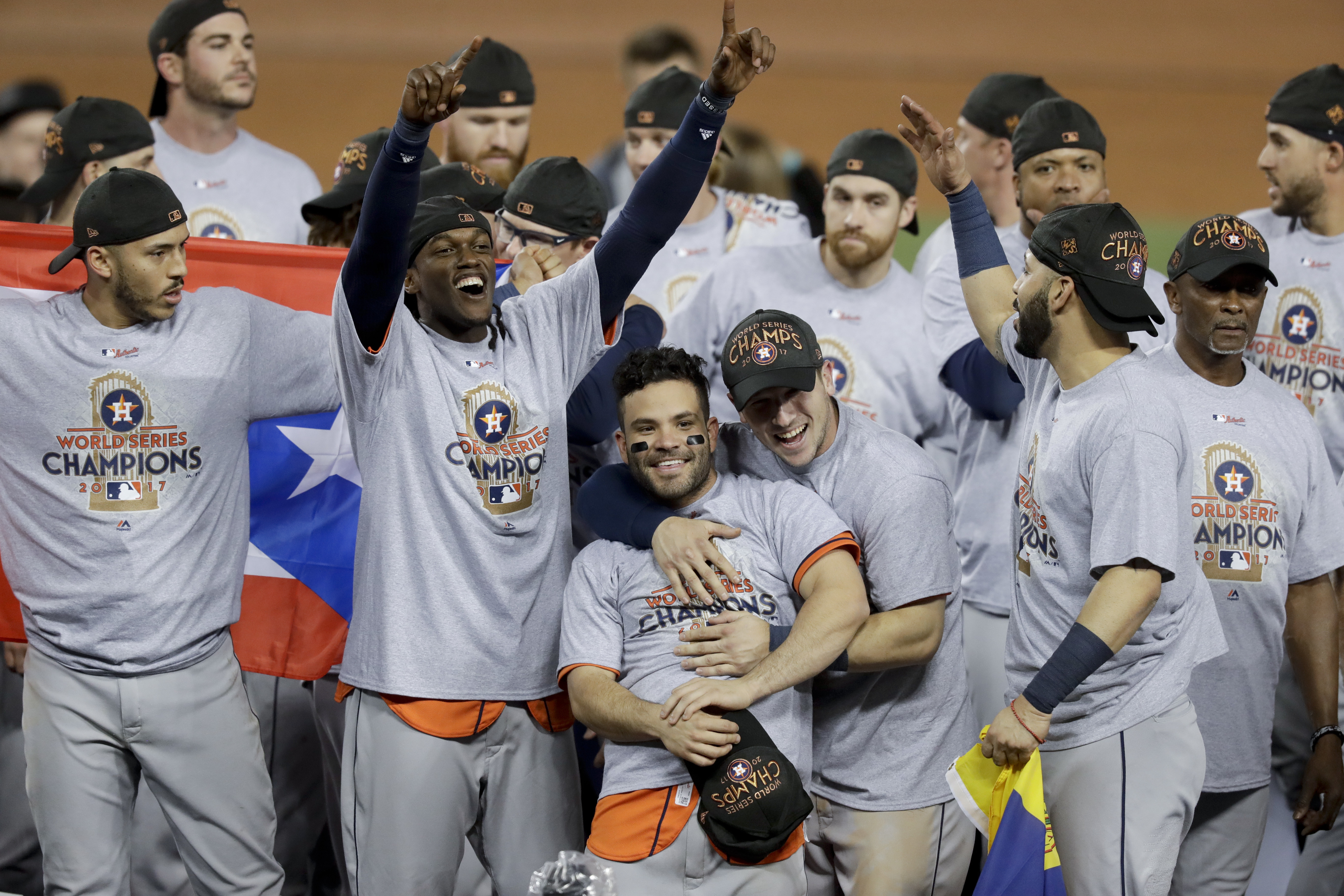 The Houston Astros celebrate after their win against the Los Angeles Dodgers in Game 7 of the World Series Wednesday, Nov. 1, 2017, in Los Angeles. The Astros won 5-1 to win the series 4-3. (AP Photo/Alex Gallardo)
