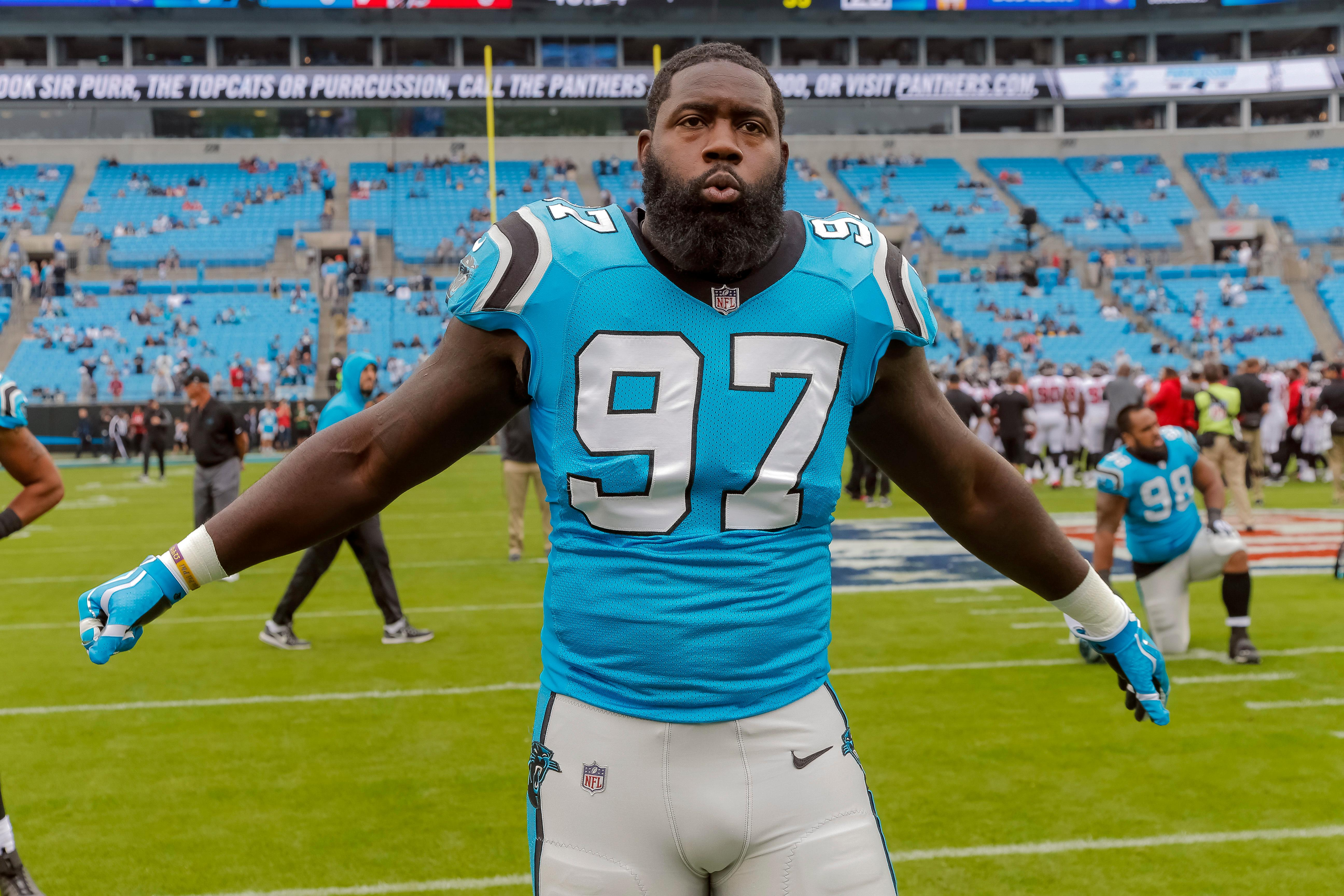 FILE - In this Nov. 5, 2017, file photo, Carolina Panthers' Mario Addison (97) warms up before an NFL football game against the Atlanta Falcons in Charlotte, N.C. The Panthers face the Steelers on Thursday in Pittsburgh. (AP Photo/Bob Leverone)