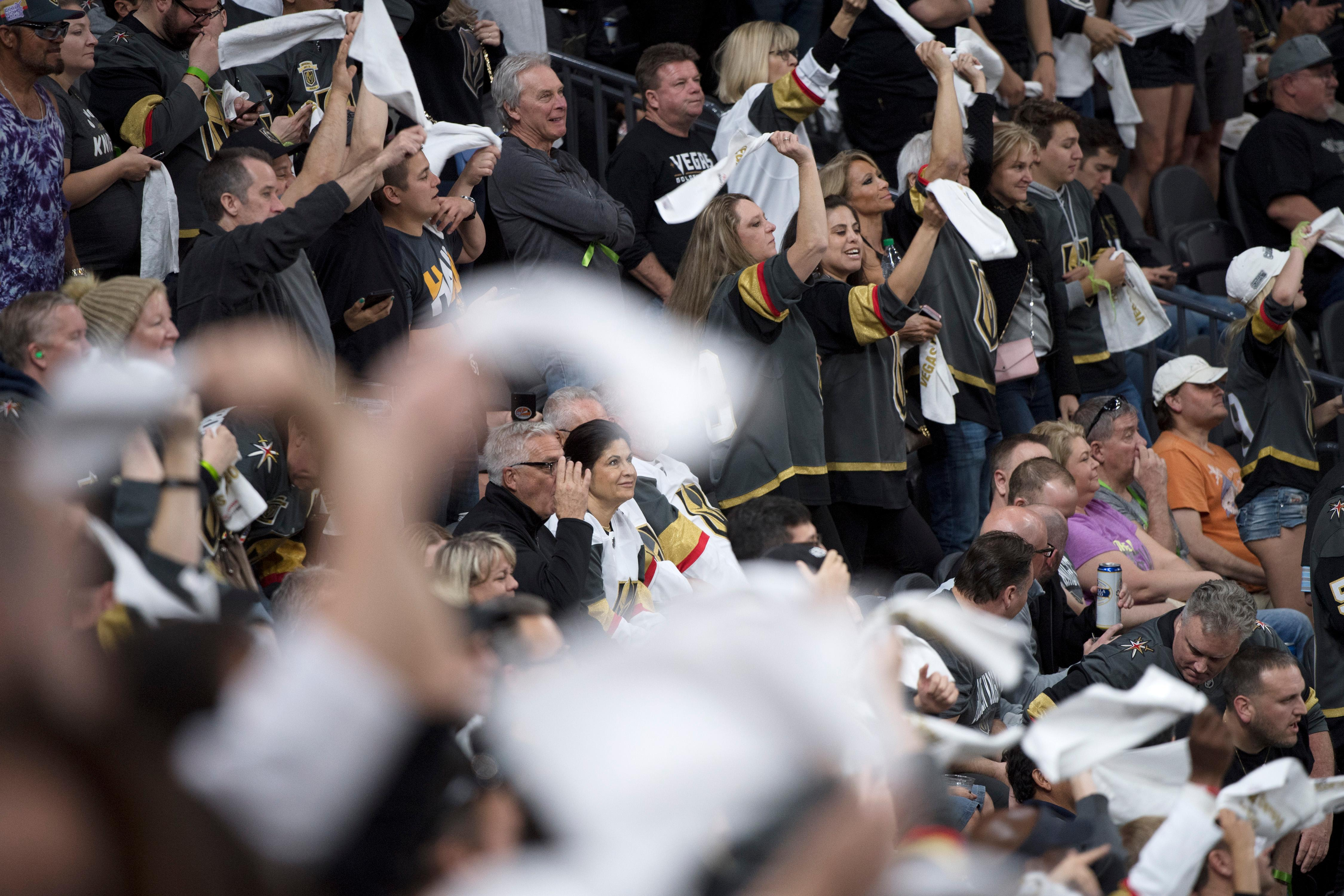 Vegas Golden Knights fans cheer during the third period of Game 1 of their NHL hockey first-round playoff series against the Los Angeles Kings Wednesday, April 11, 2018 at T-Mobile Arena. The Knights won 1-0. CREDIT: Sam Morris/Las Vegas News Bureau