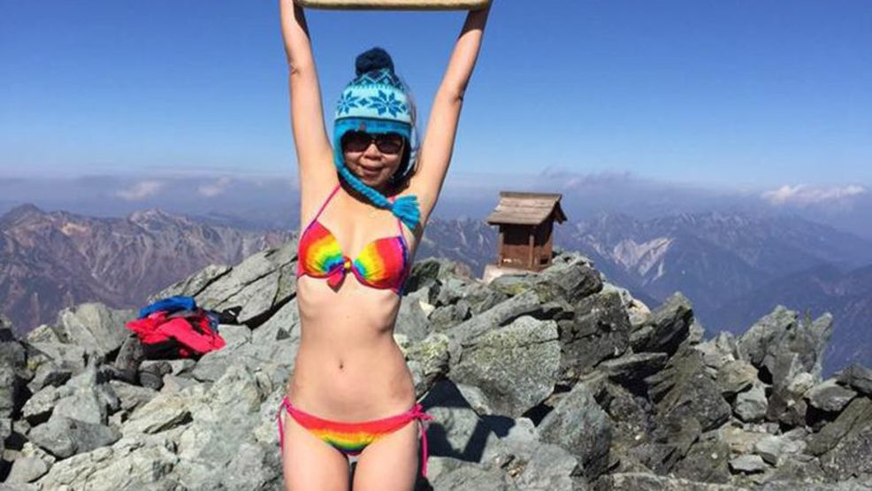 Gigi Wu became an internet sensation for her bikini photos on mountain summits. (Facebook).jpg