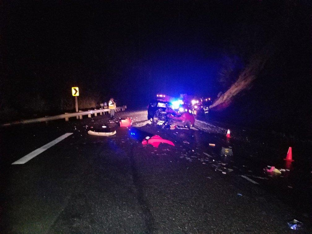 An 18-year-old Coquille woman died after crossing into oncoming traffic and colliding with another vehicle on Highway 42 Friday night. Photo courtesy Oregon State Police