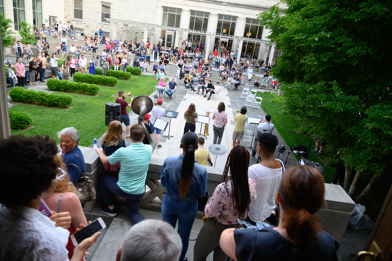 Largemouth Brass Band performs in the Art Museum courtyard. / Image: Cincinnati Refined // Published: 6.1.19