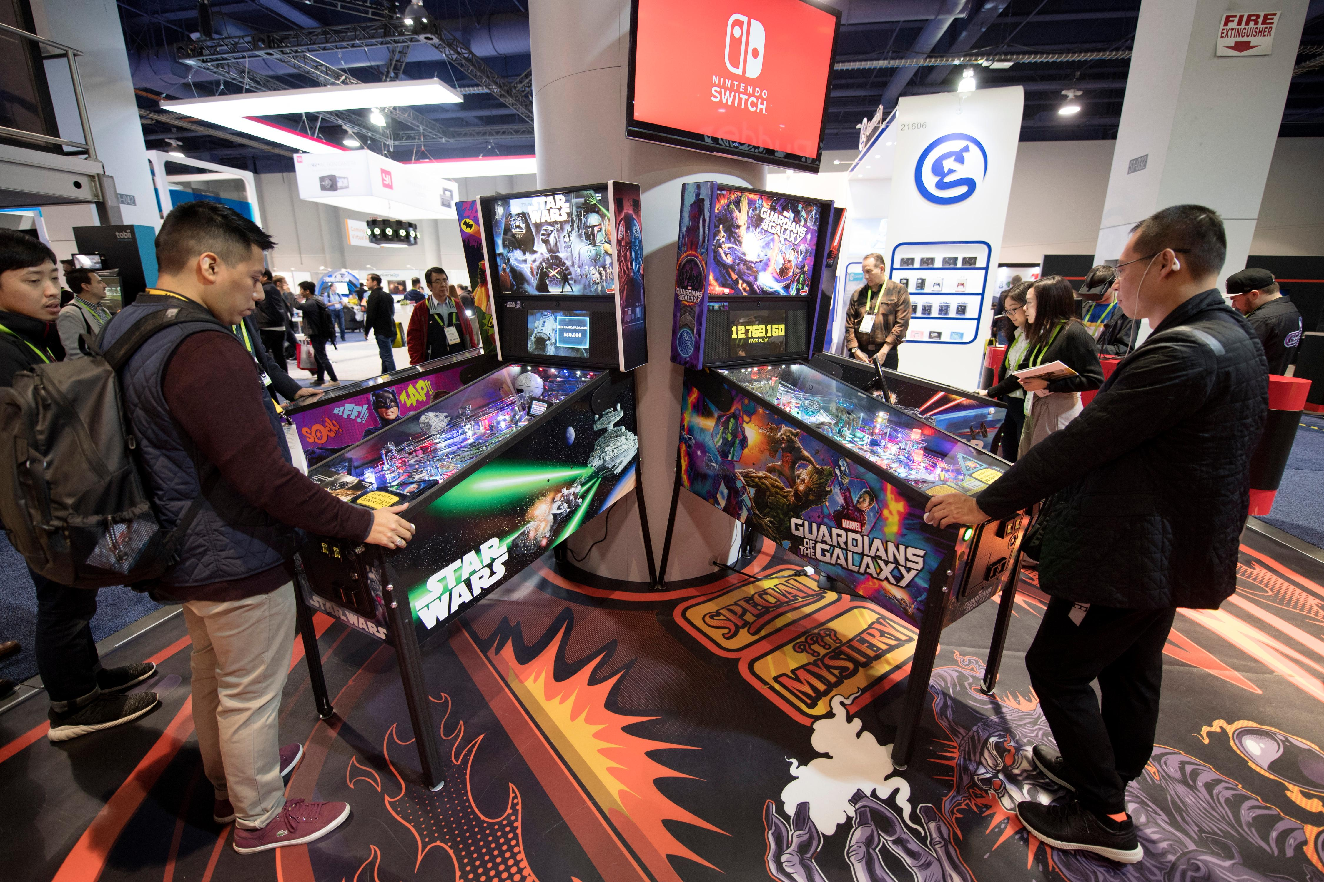 The latest offerings from Stern Pinball are played during the second day of CES Wednesday, January 10, 2018, at the Las Vegas Convention Center. CREDIT: Sam Morris/Las Vegas News Bureau