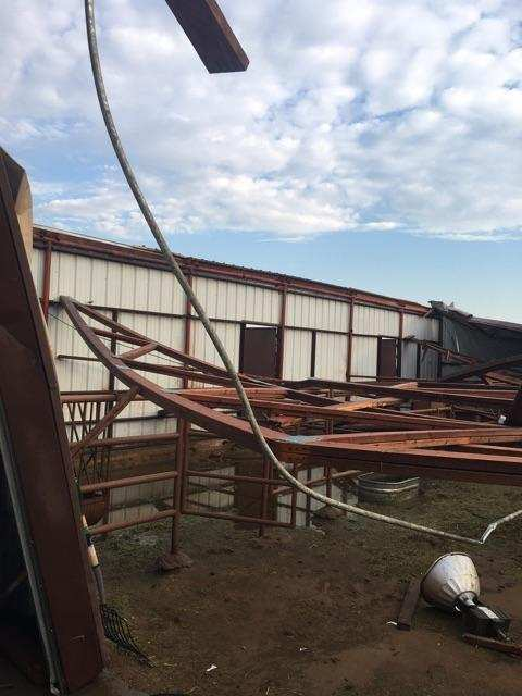 A barn is destroyed when high winds rip through Portales during a Thursday night storm. (Photo: Catherine Hisel)