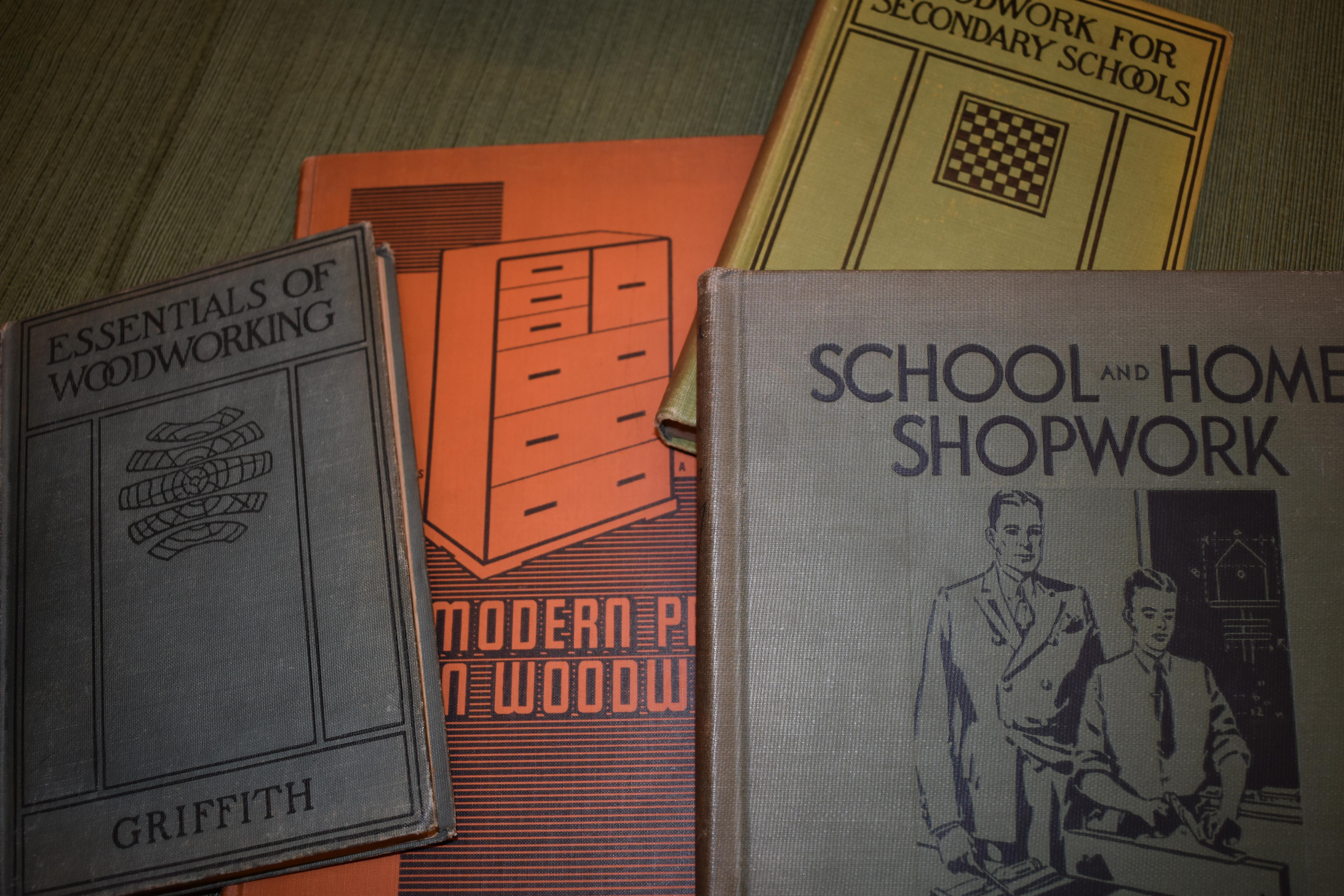 Woodworking textbooks used by Gustav Mellquist to teach manual arts in the Cleveland, Ohio public schools between 1915 and 1930. Photo by Maureen Flanagan Battistella