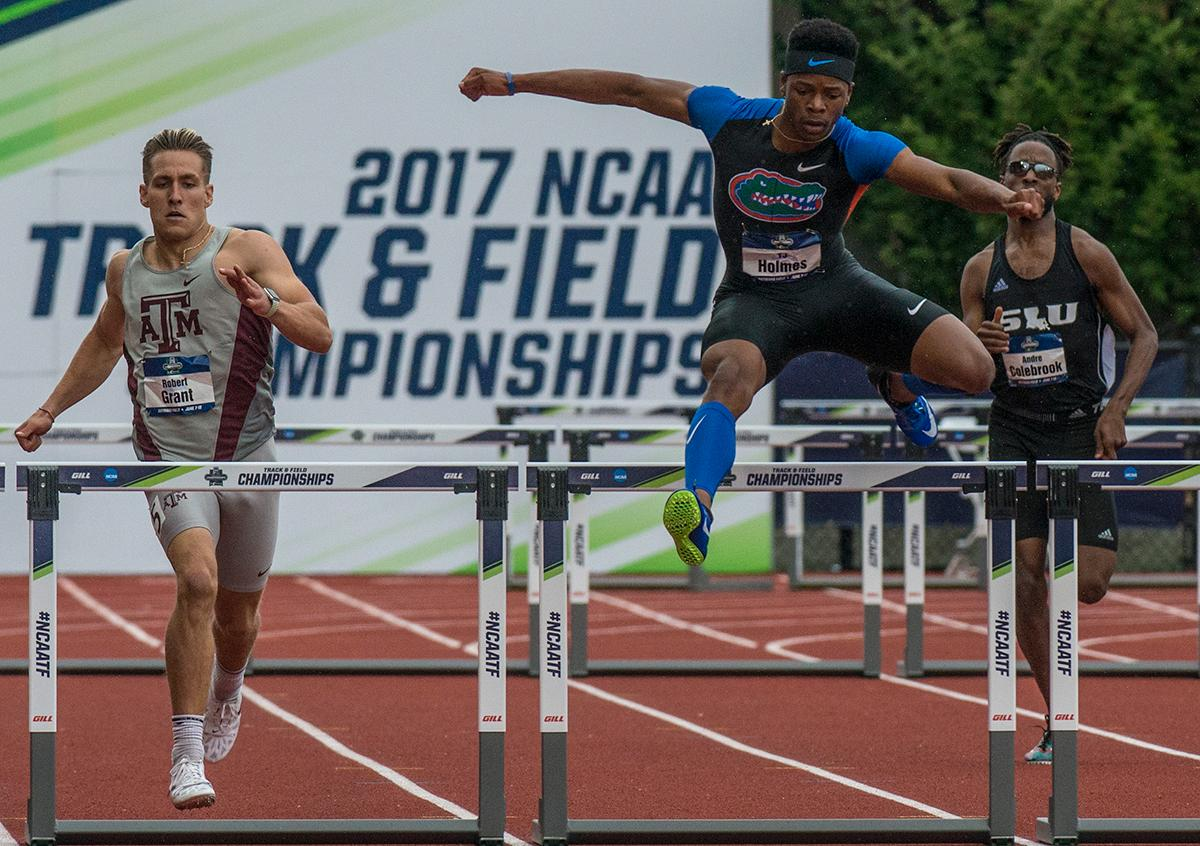 TJ Holmes, Florida, places sixth in the 400m Hurdles with a time of 49.26 on day one of the NCAA Division I Championships at Hayward Field. Photo by Rhianna Gelhart, Oregon News Lab