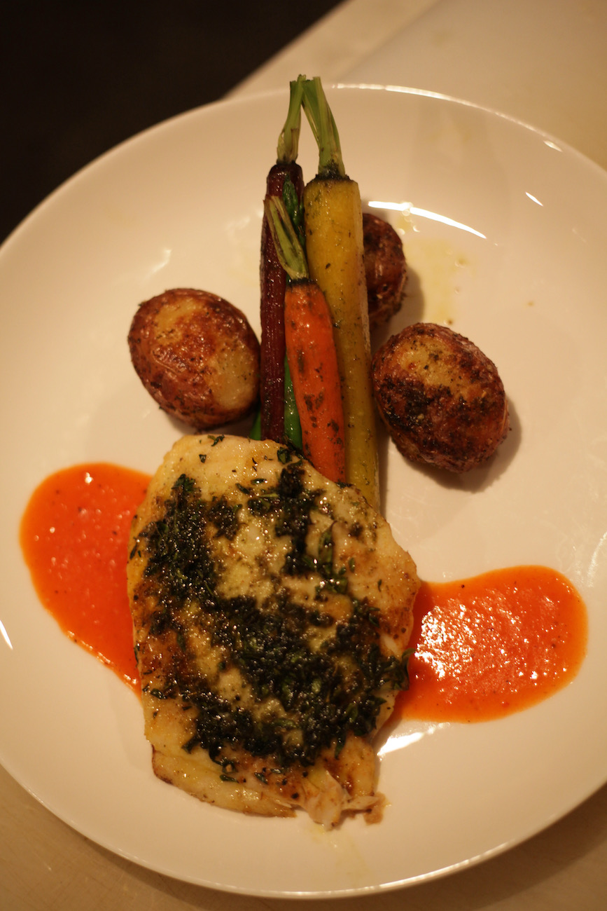 Baked snapper with Italian stick vegetables and red jacket potatoes at Cherry Valley Hotel{ }ADDRESS: 2299 Cherry Valley Road, Newark, OH (43055) / Image: Chez Chesak // Published: 2.12.21