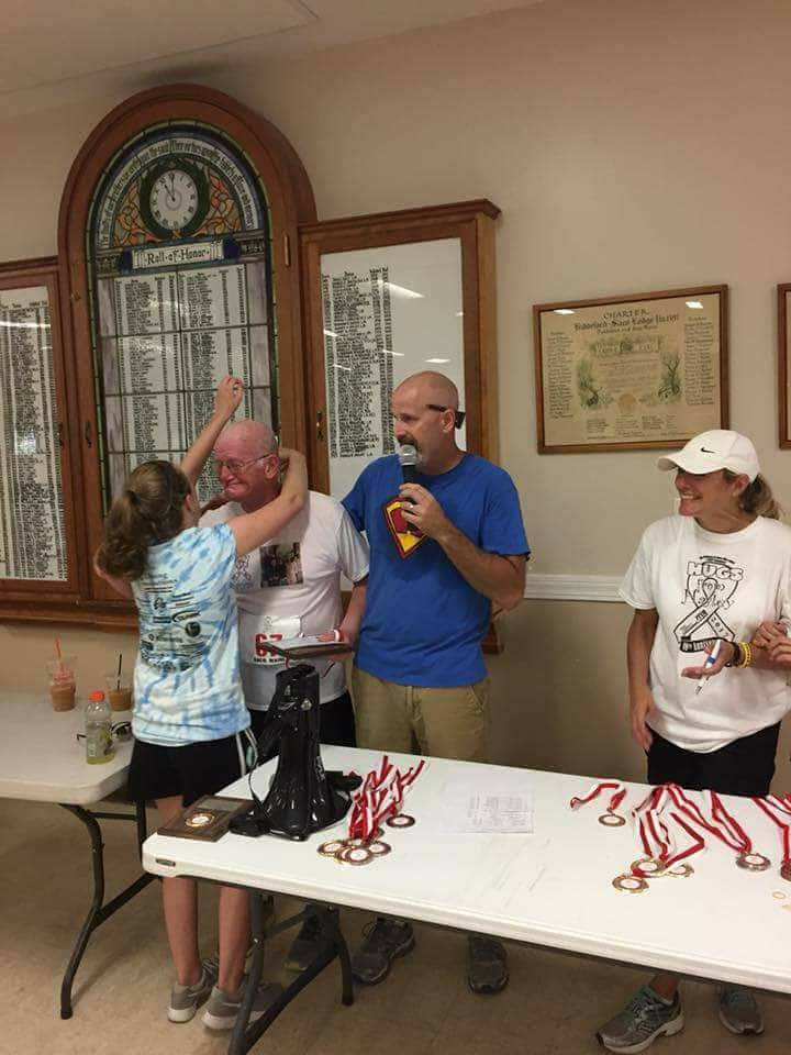 "Genest's 67th race was ""Hugs from  Haley 5k"" in Saco on September 24, 2017 (Courtesy: Allyn Genest)."