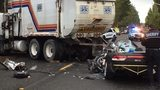 Teen driver hurrying to school critically injured in crash with garbage truck