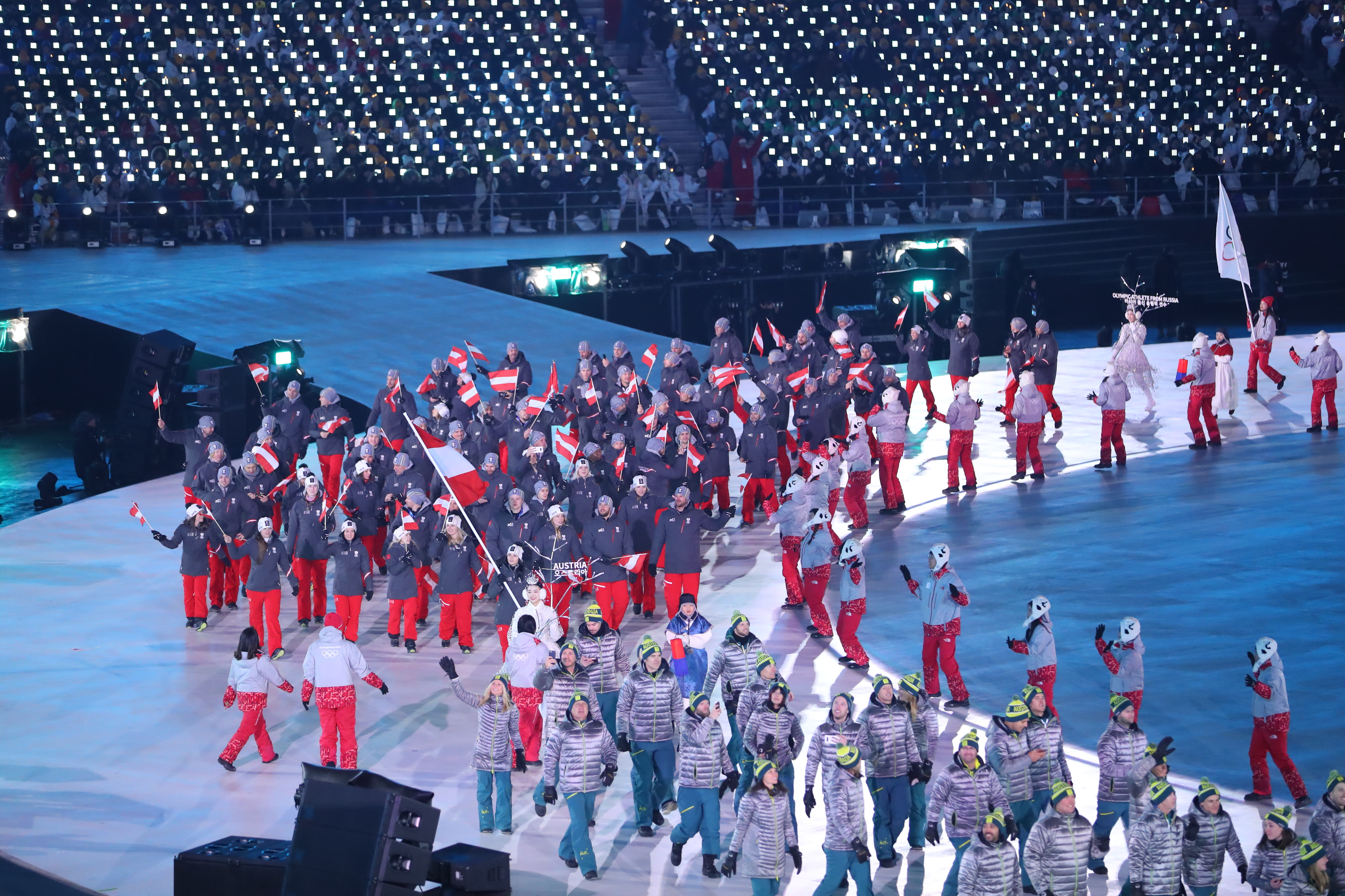 2018 Winter Olympic Games - Opening Ceremony - AUSTRIA  /  OESTERREICH - Opening Ceremony  PYEONGCHANG-GUN, SOUTH KOREA - FEBRUARY 09: Flag bearer Anna Veith of Austria and teammates enter the stadium during the Opening Ceremony of the PyeongChang 2018 Winter Olympic Games at PyeongChang Olympic Stadium on February 9, 2018 in Pyeongchang-gun, South Korea. uth Korea. XXIII. OLYMPIC WINTER GAMES PYEONGCHANG 2018: OPENING CEREMONY, PyeongChang, Korea, Winter Olympics; PyeongChang Olympic Stadium, on 9. February 2018, fee liable image, copyright © ATP / OSADA Yohei  Featuring: Anna Veith of Austria and teammates Where: Pyeongchang, Gangwon Province, South Korea When: 09 Feb 2018 Credit: ATP/WENN.com  **Not available for publication in Germany or France. No Contact Music.**