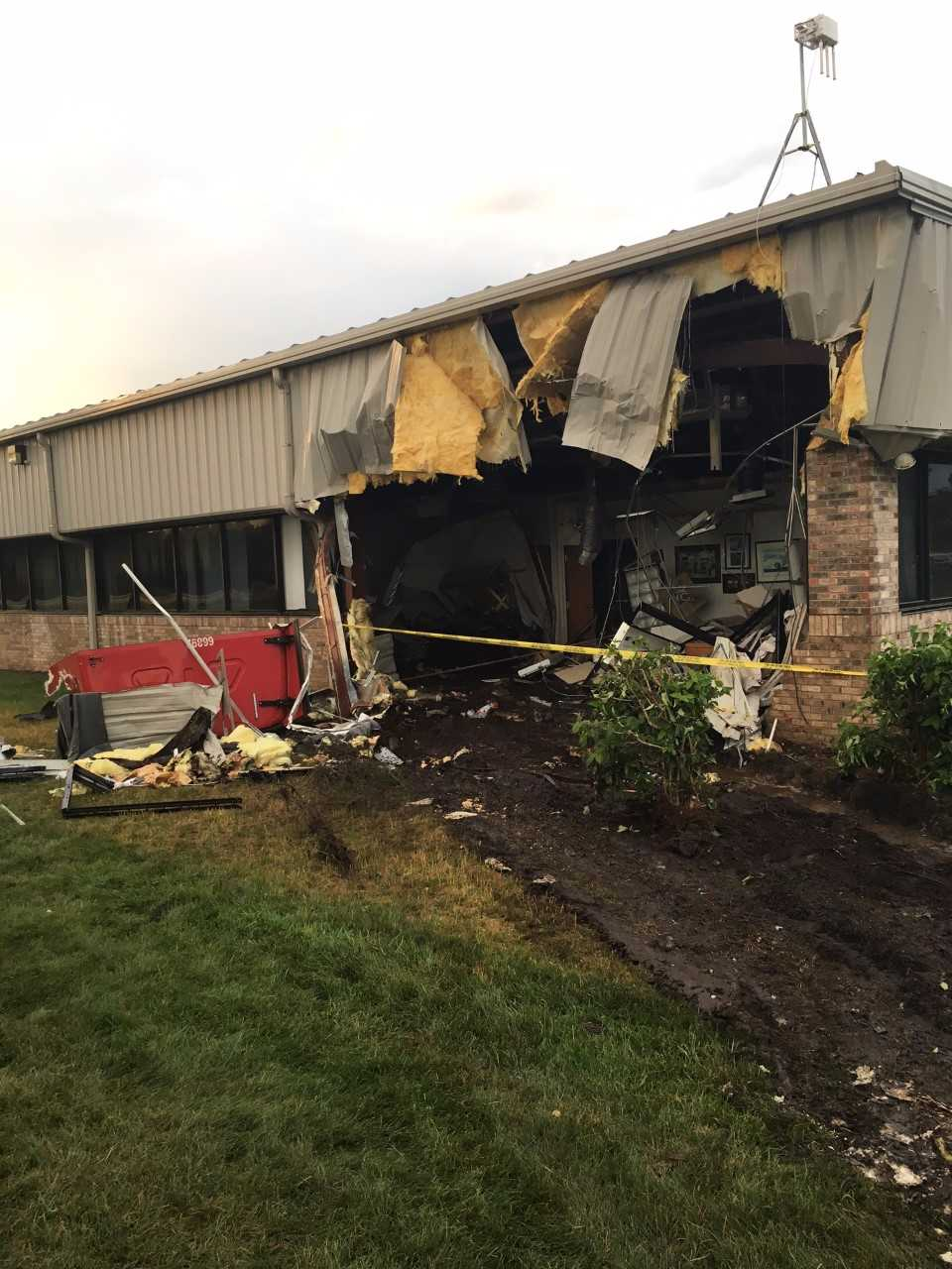 Crash at Lane Automotive in Watervliet // Photo courtesy of police