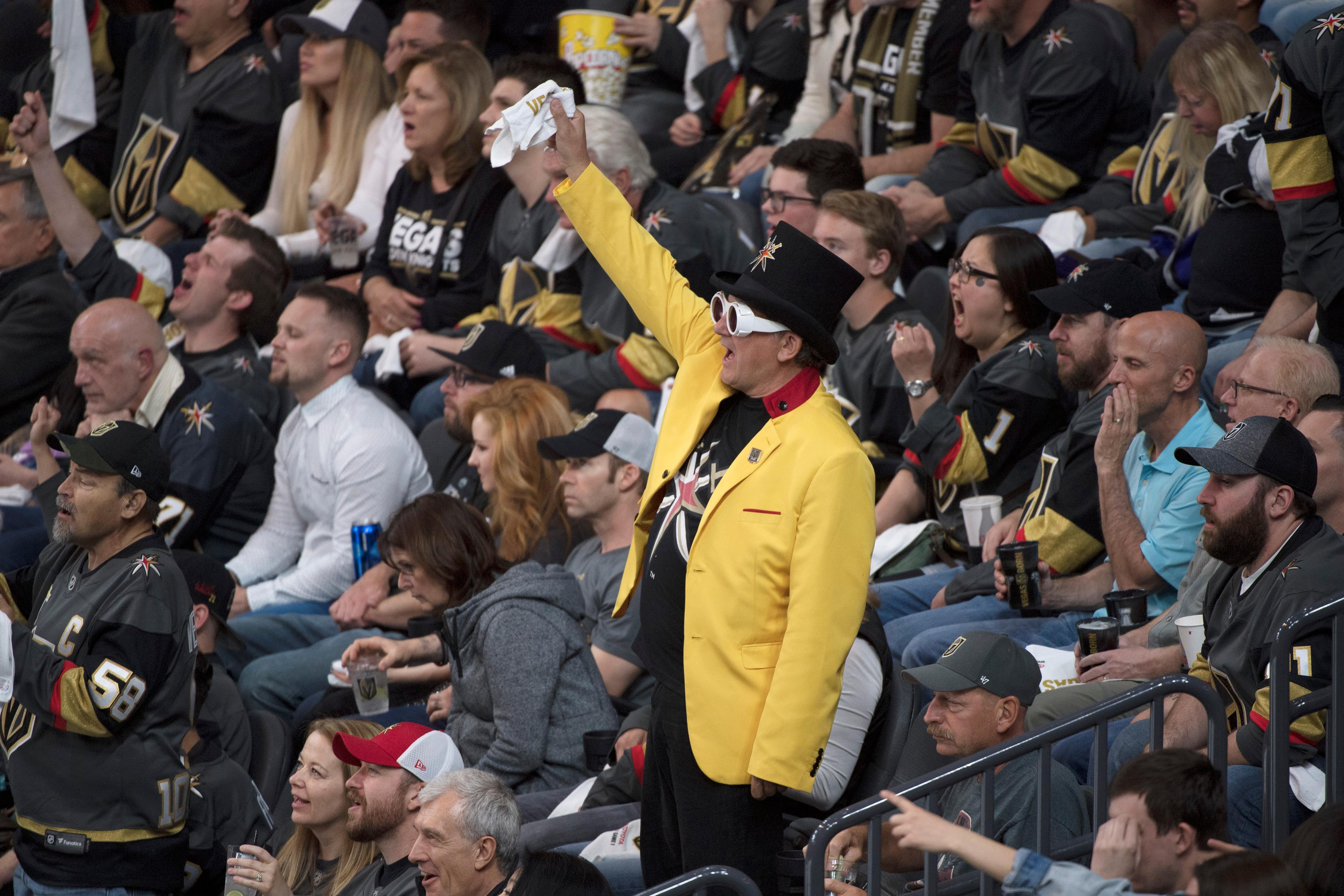 A Vegas Golden Knights fan cheers during the second period of Game 1 of their NHL hockey first-round playoff series against the Los Angeles Kings Wednesday, April 11, 2018 at T-Mobile Arena. The Knights won 1-0. CREDIT: Sam Morris/Las Vegas News Bureau