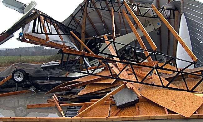 A hangar at Addison Municipal Airport in Winston County was destroyed by the strong storms that moved through Alabama on Wednesday.