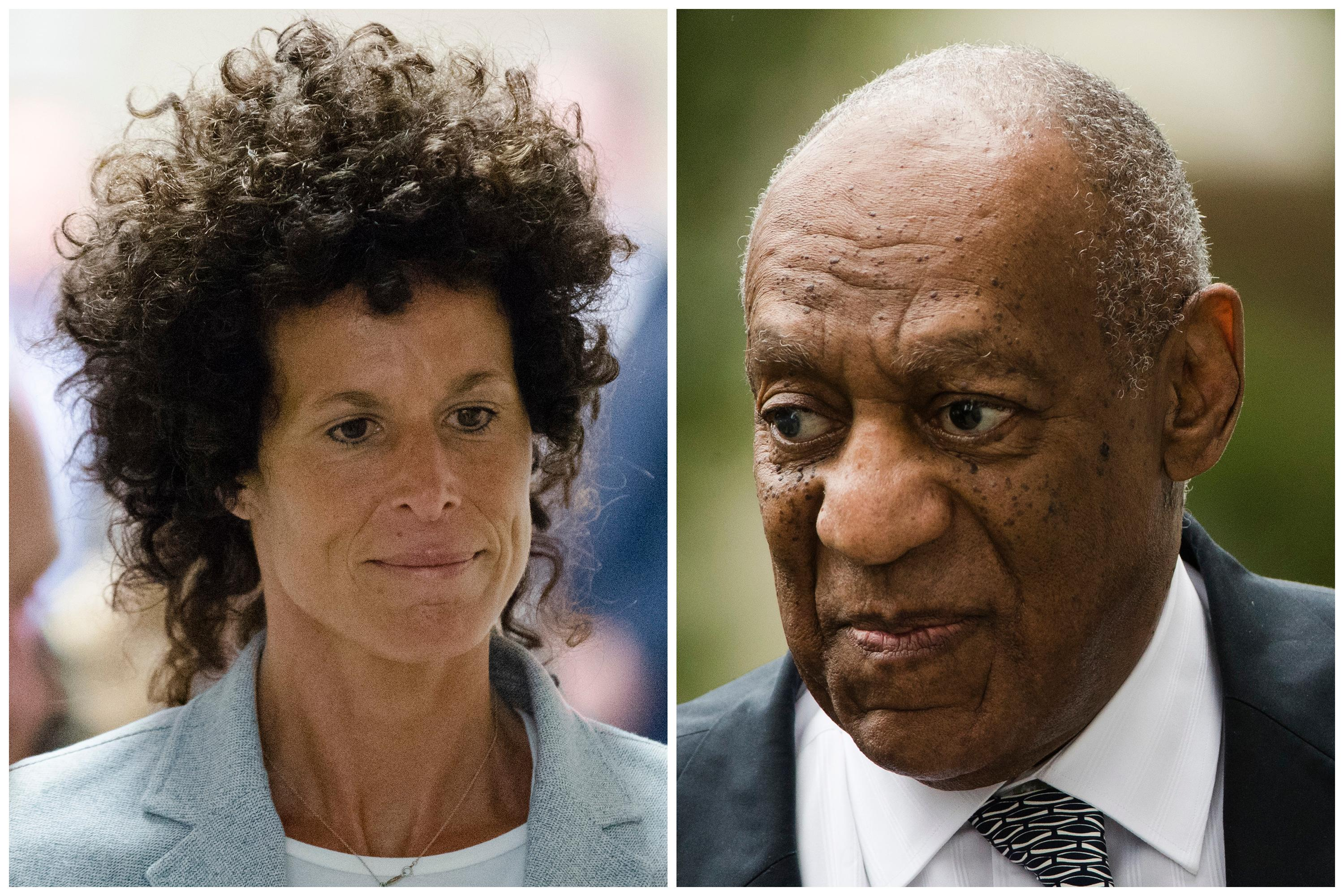 FILE – This photo combination shows Andrea Constand, left, walking to the courtroom during Bill Cosby's sexual assault trial on June 6, 2017, at the Montgomery County Courthouse in Norristown, Pa.; and Bill Cosby, right, arriving for his sexual assault trial on June 16, 2017, at the Montgomery County Courthouse in Norristown, Pa. Former acting Pennsylvania Attorney General Bruce L. Castor, who declined to press sexual-assault charges against Cosby in 2005, has filed the beginnings of a lawsuit against Cosby's accuser in Philadelphia. An attorney for Castor says the personal-injury complaint will claim  Constand sued Castor for defamation in 2015 so he would lose the prosecutor's race. The winner, Kevin Steele, had criticized Castor's handling of the Cosby case. (AP Photo/Matt Rourke, File)