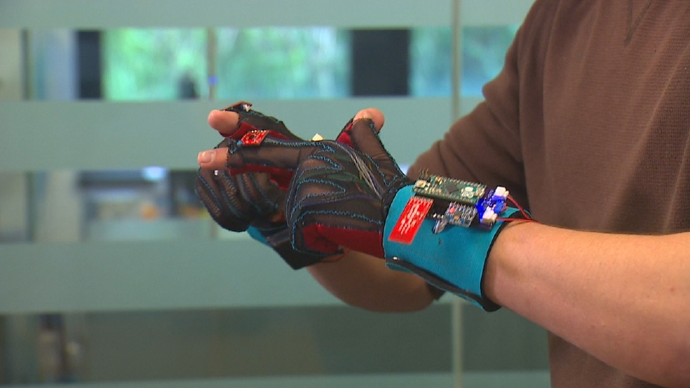sign language glove Their invention, the signaloud, is a pair of sensor-filled gloves that interpret the hand movements american sign language users use to communicate, and converts them into speech or text that the.