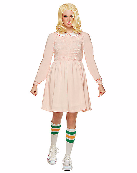 Stranger Things's Eleven is pretty spooky! Make your Halloween spooky by dressing as her and creep out friends while obsessing over waffles. The pink, long sleeved dress with ruffled top and white collar makes it easy to fool people with real or pretend psychokinetic abilities. (Image: SpiritHalloween.com)