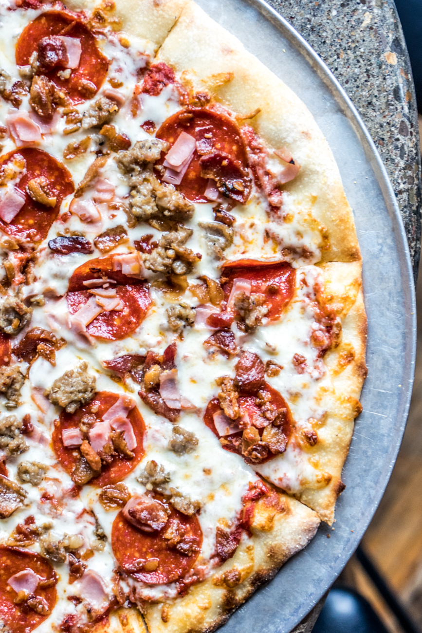 Dads Mail Pizza: red sauce, mozzarella provolone blend, pepperoni, Italian sausage, bacon, and ham / Image: Catherine Viox{ }// Published: 3.12.20