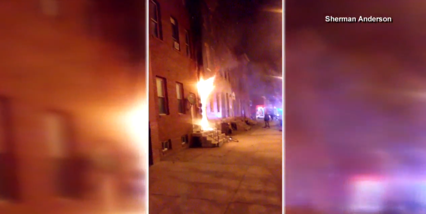 Residents escape burning home, cat rescued after fire in SW Baltimore; Video courtesy of Sherman Anderson<p></p>