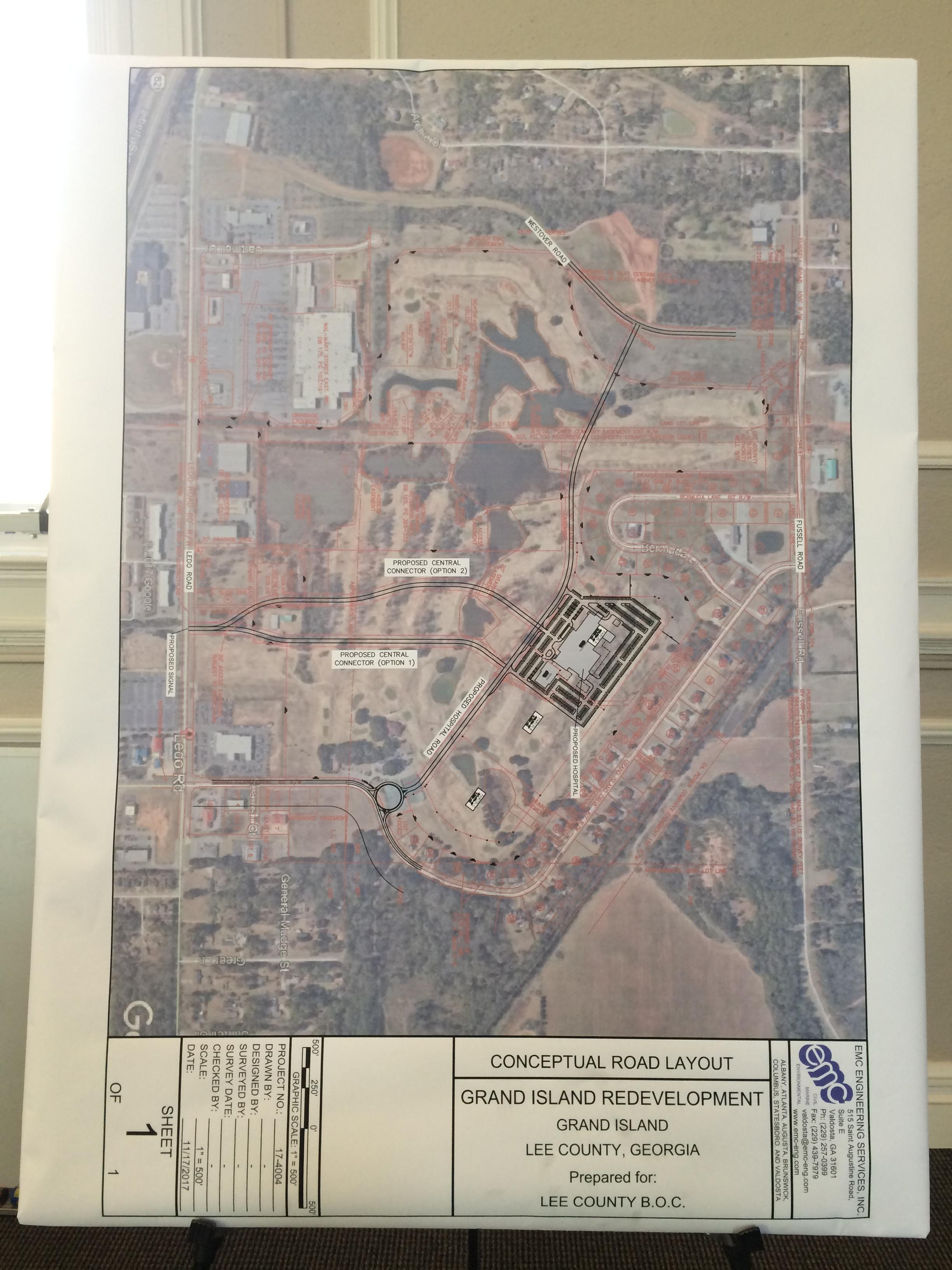 A look at the road layout of the 165 acres the Lee County Medical Center will sit on.<p></p><p>Photo: Kailey McCarthy</p>