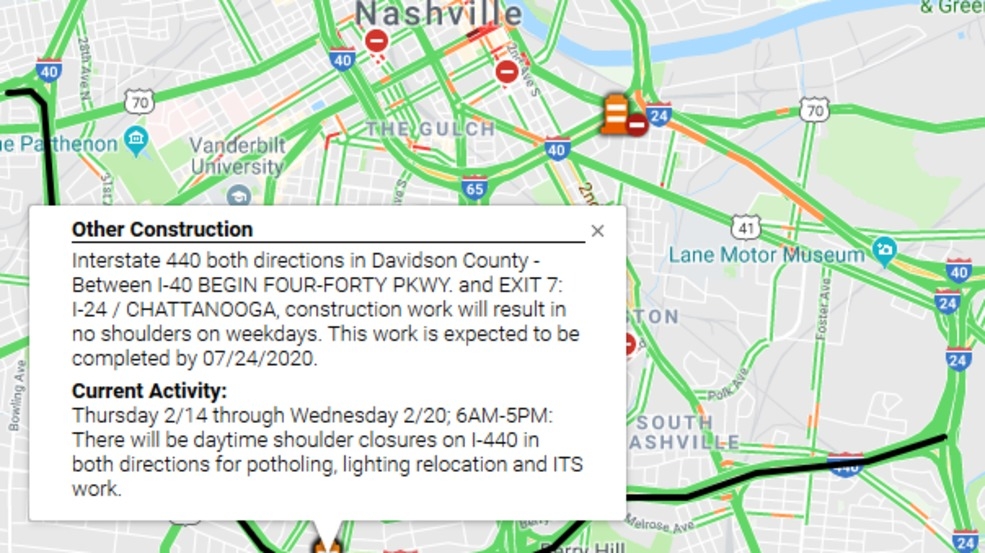 Speeds reduced on I-440 during construction   WZTV