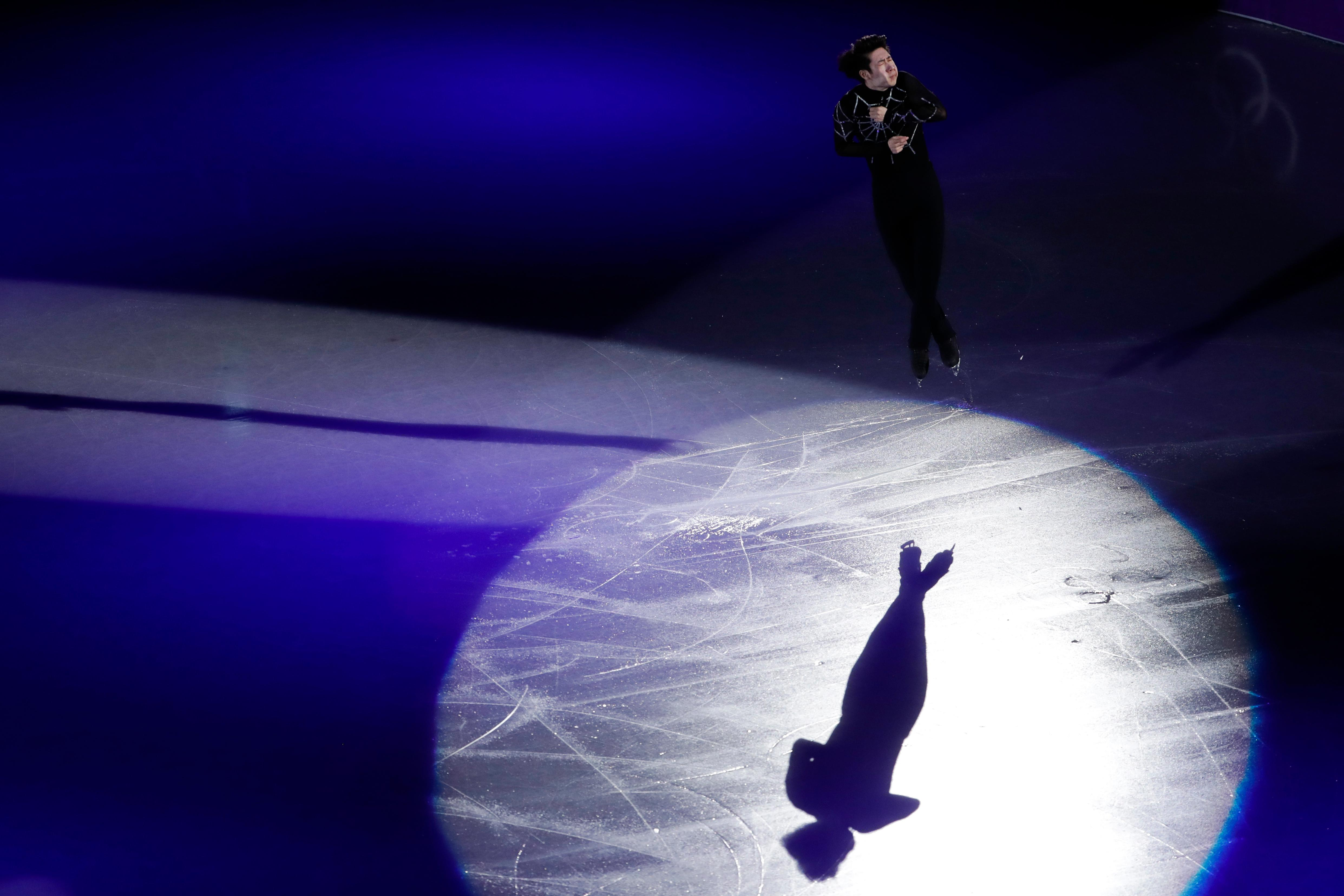 Jin Boyang, of China, performs during the figure skating exhibition gala in the Gangneung Ice Arena at the 2018 Winter Olympics in Gangneung, South Korea, Sunday, Feb. 25, 2018. (AP Photo/Felipe Dana)