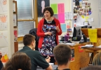 Golden Apple Award recipient Stefanie Jochman teaches an English class at Notre Dame Academy in Green Bay, March 15, 2016.