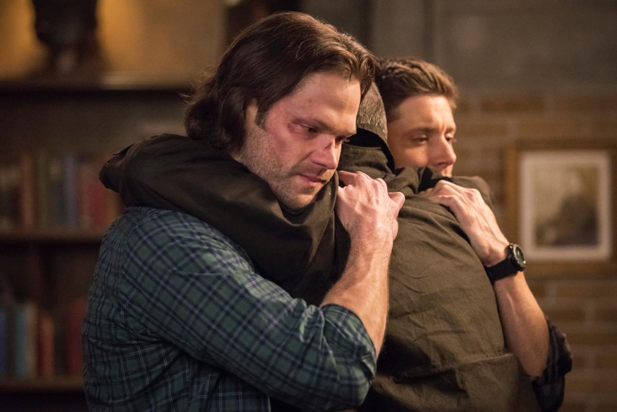 "Supernatural -- ""Lebanon"" -- Image Number: SN1413D_0272b.jpg -- Pictured (L-R): Jared Padalecki as Sam, Jeffrey Dean Morgan as John Winchester and Jensen Ackles as Dean -- Photo: Dean Buscher/The CW -- �© 2019 The CW Network, LLC. All Rights Reserved."