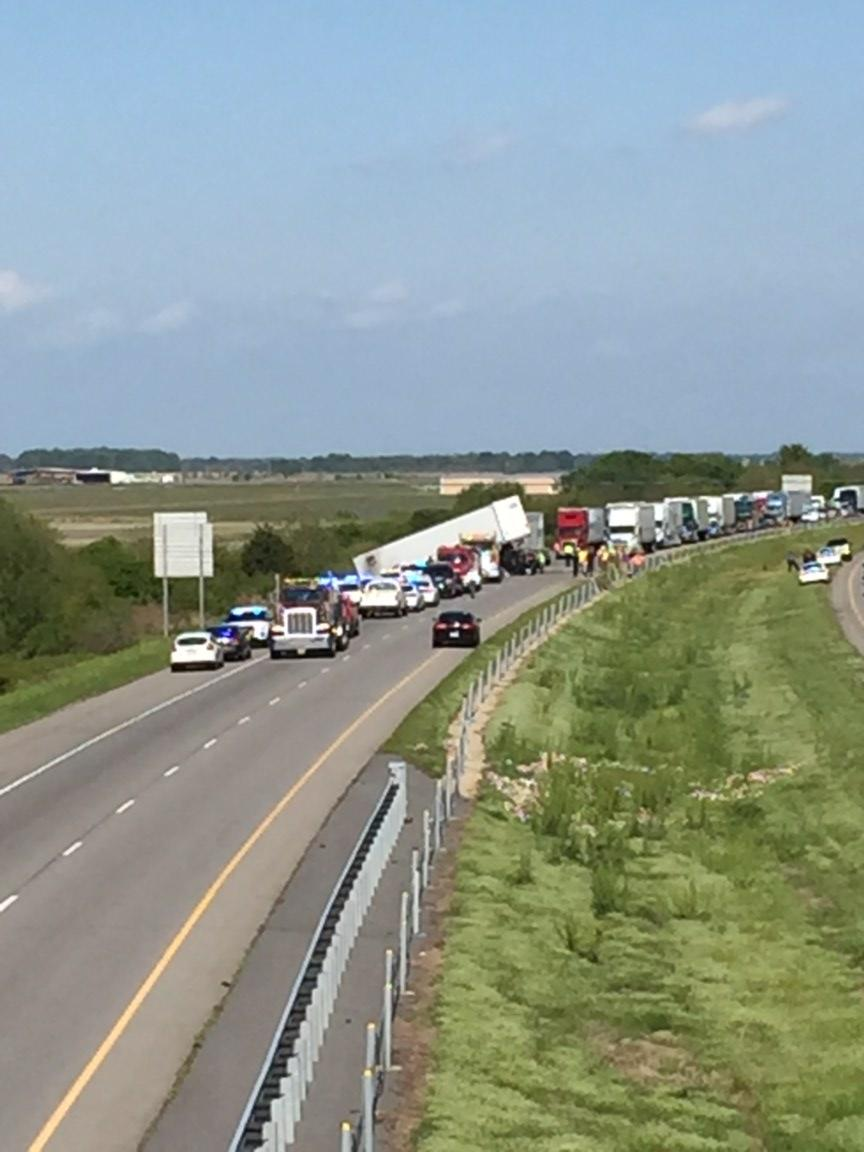Two 18-wheelers were involved in the crash on Interstate 40 in Lonoke County on Tuesday. (Photo courtesy: KATV viewer)