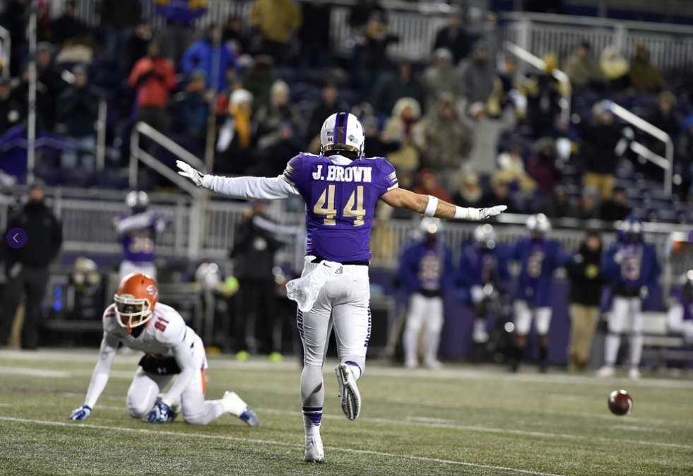 JMU 65, SAM HOUSTON STATE 7: Bryan Schor passed for 236 of his 251 yards in the first half and Khalid Abdullah rushed for 141 yards and 3 TDs in a rout of SHSU (12-1). The Dukes (12-1) led 35-0 with 10:40 remaining in the second quarter and posted the sixth-highest point total in FCS playoff history. They held Jeremiah Briscoe, winner of the Walter Payton Award, to a season-low 143 yards on 13-of-44 passing. (Photo courtesy JMU Athletics)