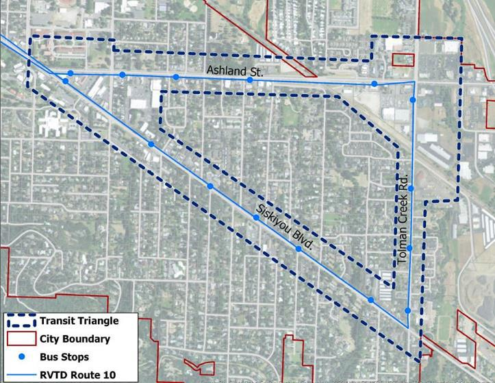 "A city of Ashland map shows the ""Transit Triangle."""