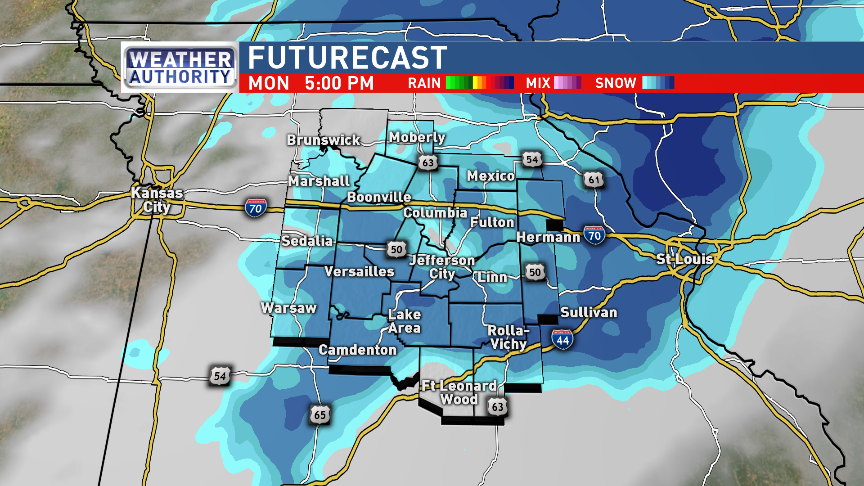 Potential snow in mid-Missouri at 5 pm Monday.{&amp;nbsp;}<p></p>