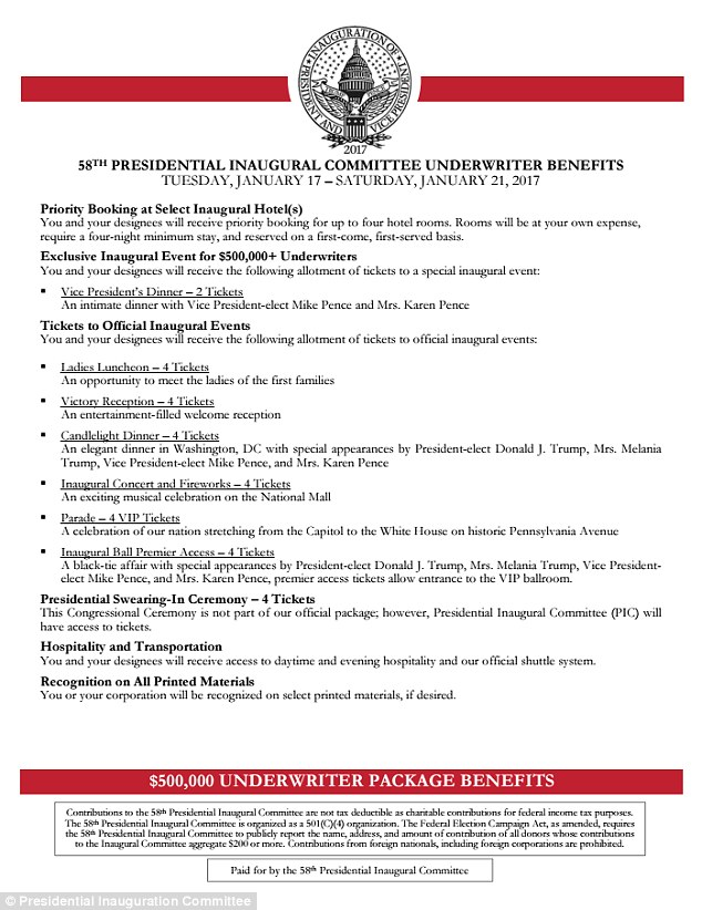 Ticket packages for the 58th Presidential Inauguration on Friday, Jan. 20, 2017. (The 58th Presidential Inauguration Committee)