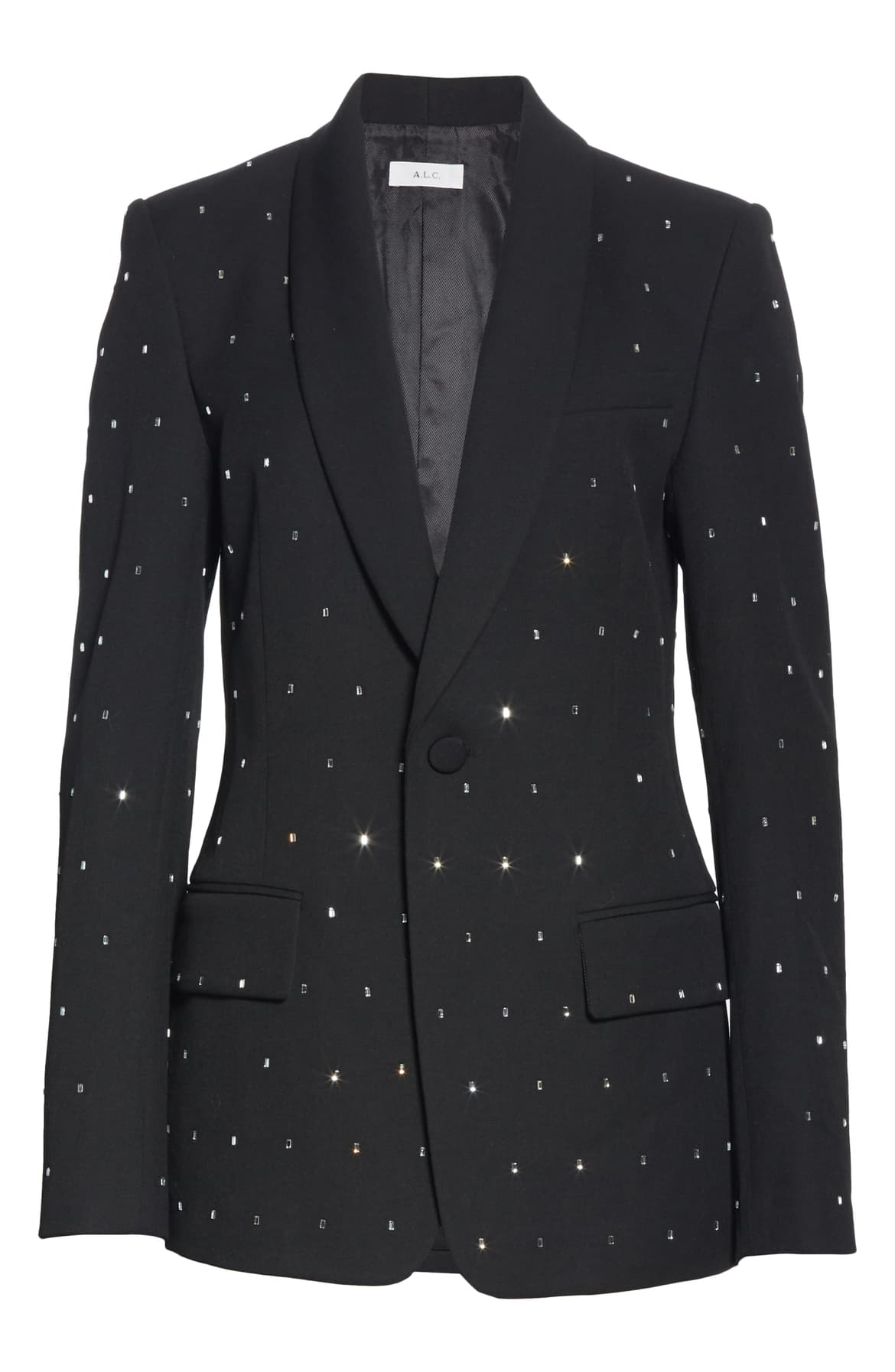 "<a  href=""https://shop.nordstrom.com/s/a-l-c-oren-crystal-embellished-shawl-lapel-blazer/5442370/full?origin=keywordsearch-personalizedsort&breadcrumb=Home%2FAll%20Results&color=black"" target=""_blank"" title=""https://shop.nordstrom.com/s/a-l-c-oren-crystal-embellished-shawl-lapel-blazer/5442370/full?origin=keywordsearch-personalizedsort&breadcrumb=Home%2FAll%20Results&color=black"">A.L.C. Oren Crystal Embellished Shawl Lapel Blazer - $795.</a>{&nbsp;}From cozy to gold hued to tailored, Nordstrom has the hottest trends for getting glam this holiday season! (Credit: Nordstrom)"