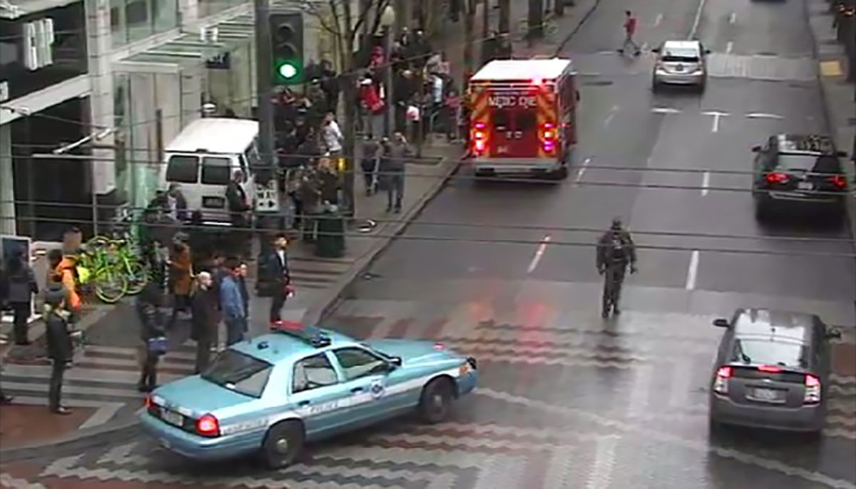 A van has crashed into the front of the Gap store in Downtown Seattle (Photo: Seattle DOT photo)<p></p>