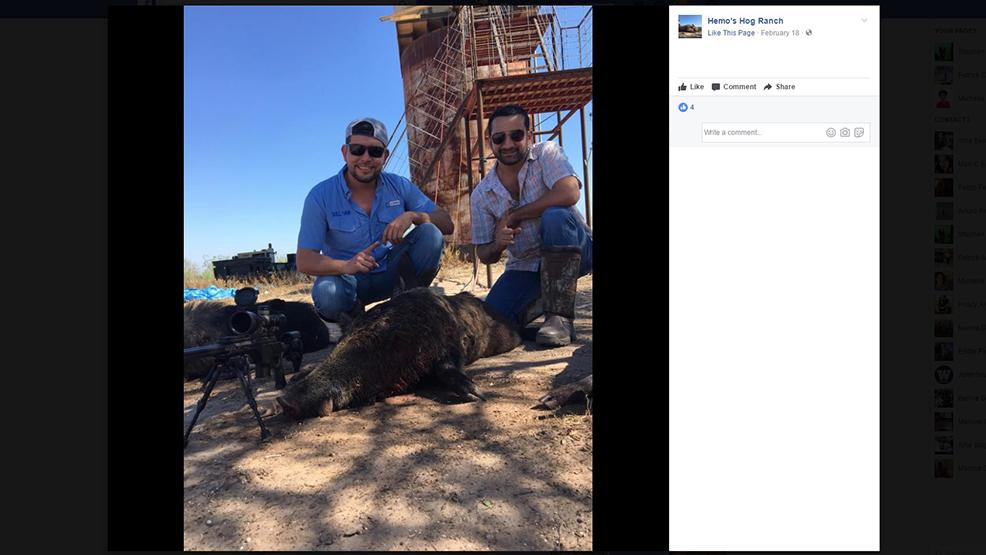 Sullivan City Mayor-elect Leo Garcia (left) and businessman Lombardo Bazan hunting hogs in Starr County. (Facebook photo)
