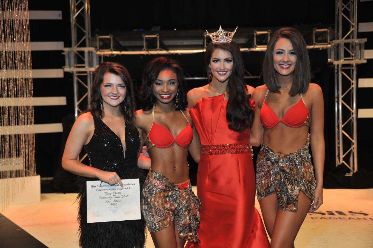 Miss Johnson County Emma Pitts (far L) received the Alpha Award for 'preliminary artistic expression'.  Miss Lights of the Delta India Kuykendall and Miss River Delta Hannah Oliver received the Alpha Award for 'Lifestyle and Fitness in Swimsuit'. (Photo: Danny Barger Photography)