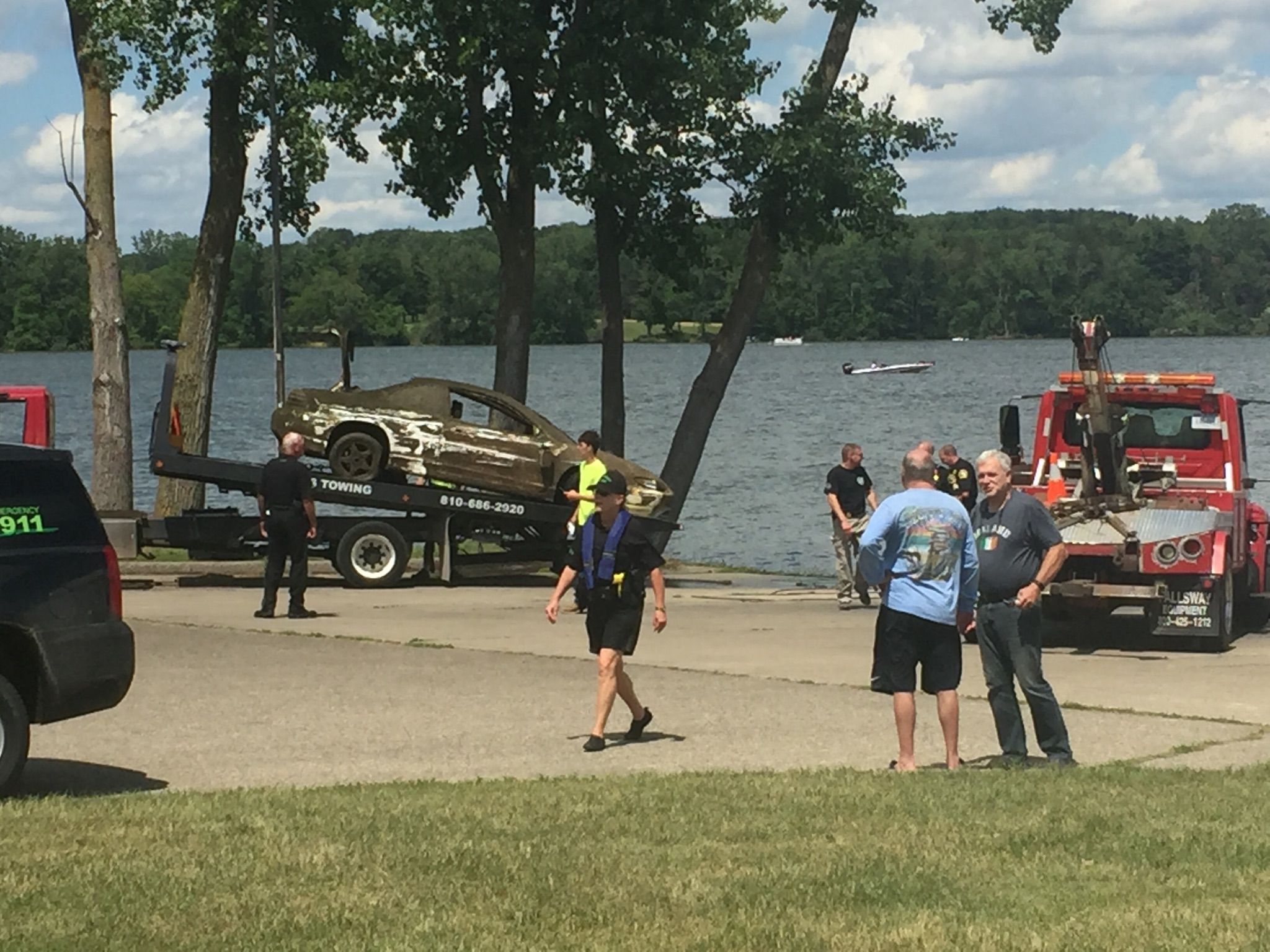 A park ranger at the Walleye Pike Boat Launch in Davison's Richfield Township says a fisherman using radar discovered a Pontiac Grand Am in the water. (Photo Credit:  Tom Metevia)