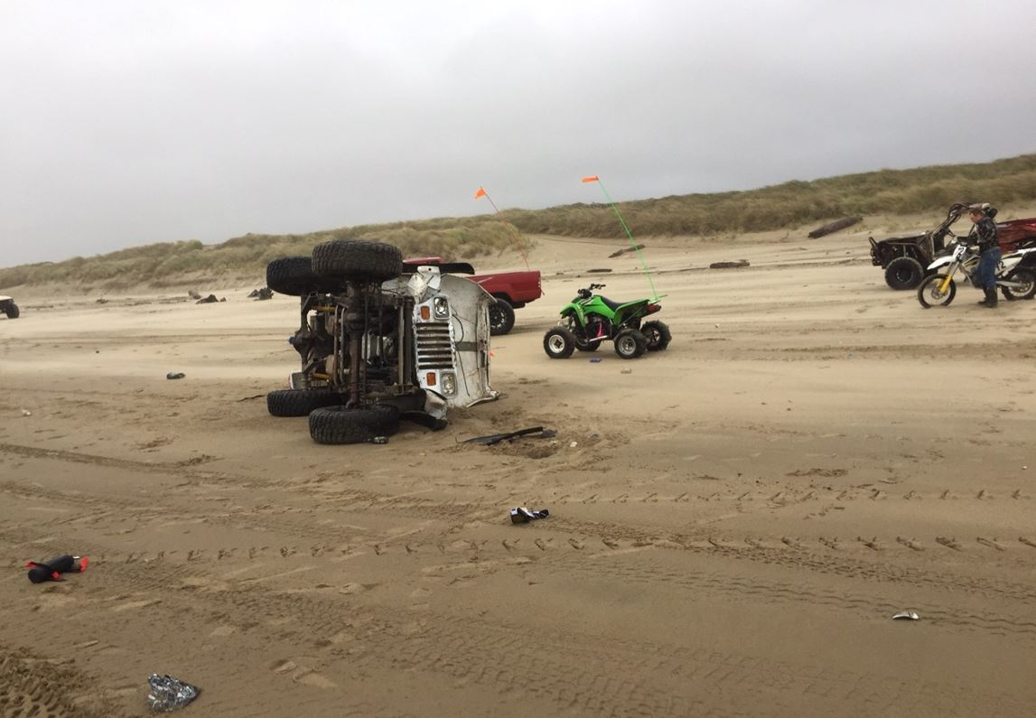 A crash on a Coos County beach killed a Klamath Falls man, police said, October 21, 2017. (Coos County Sheriff's Office photo)