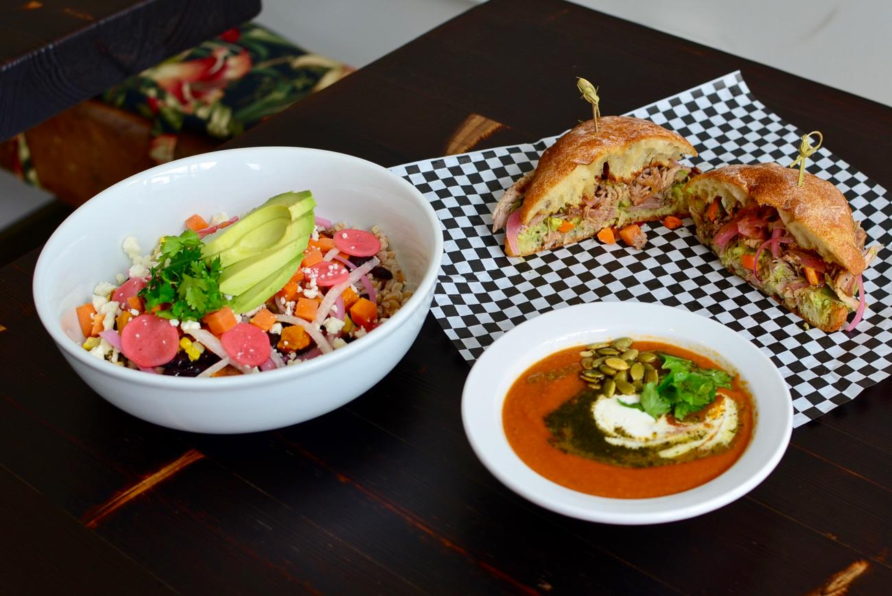 Grain Bowl, Verde Pork Sandwich, and Corn and Roasted Pepper Bisque Soup / Image: Leah Zipperstein, Cincinnati Refined // Published: 9.25.17