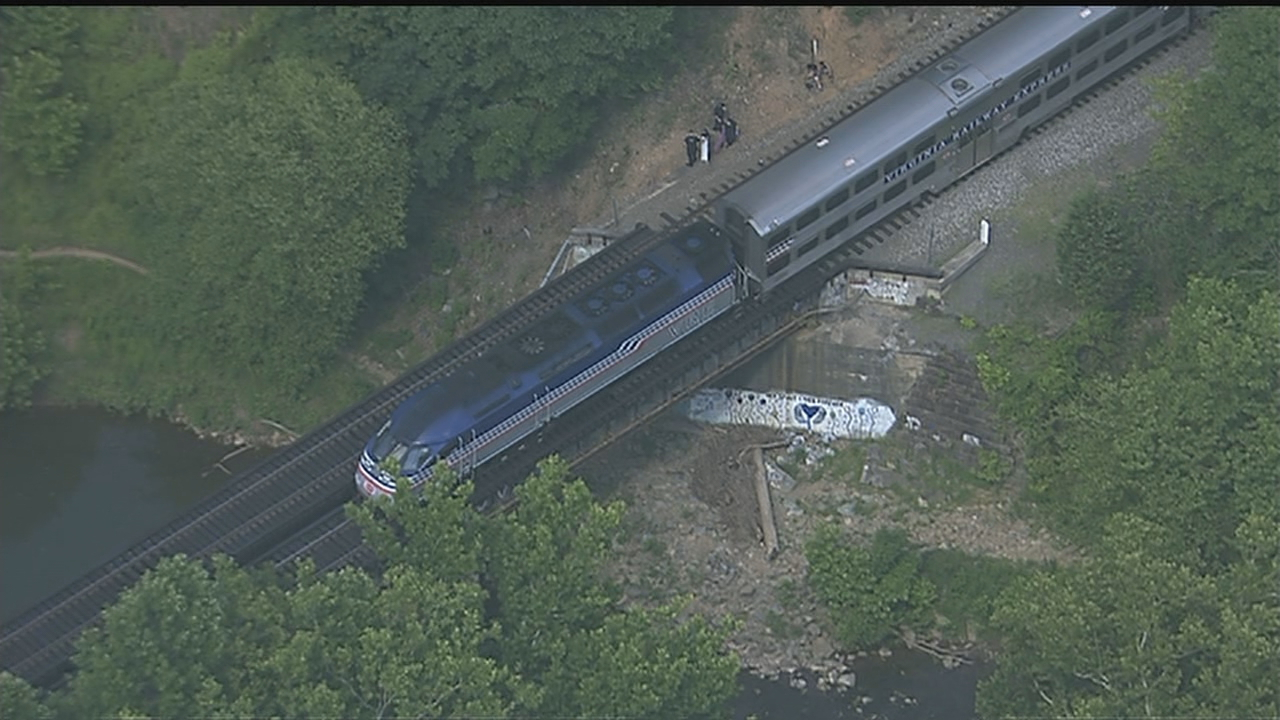 Prince William County Fire officials are on the scene in Manassas, Va. after a VRE train hit a person on Wednesday afternoon. (SkyTrak7)