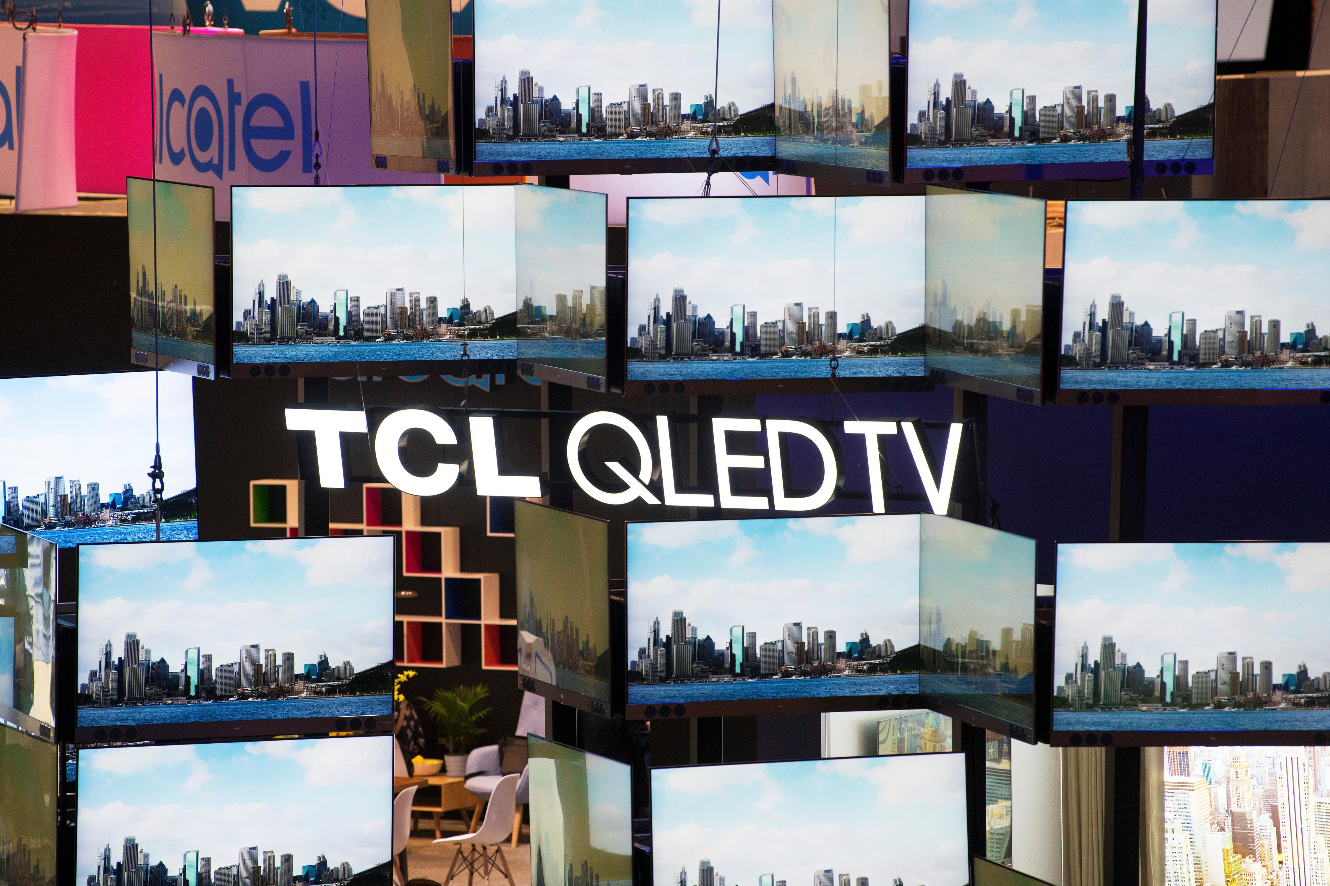A wall of televisions from TCL is seen during the second day of CES Wednesday, January 10, 2018, at the Las Vegas Convention Center. CREDIT: Sam Morris/Las Vegas News Bureau