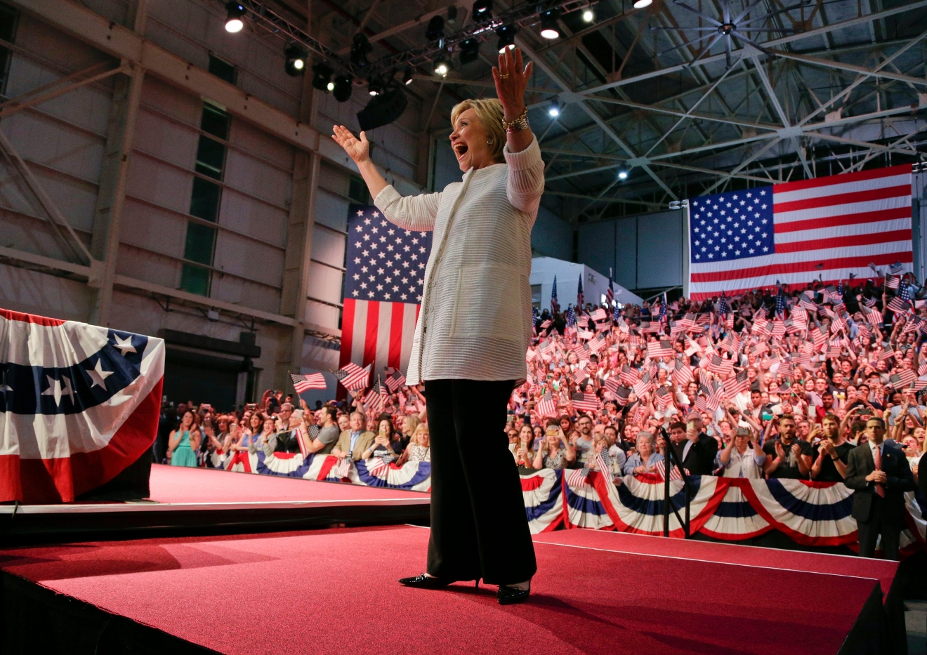 Democratic presidential candidate Hillary Clinton reacts to supporters during a presidential primary election night rally, Tuesday, June 7, 2016, in New York.  (AP Photo/Julie Jacobson)