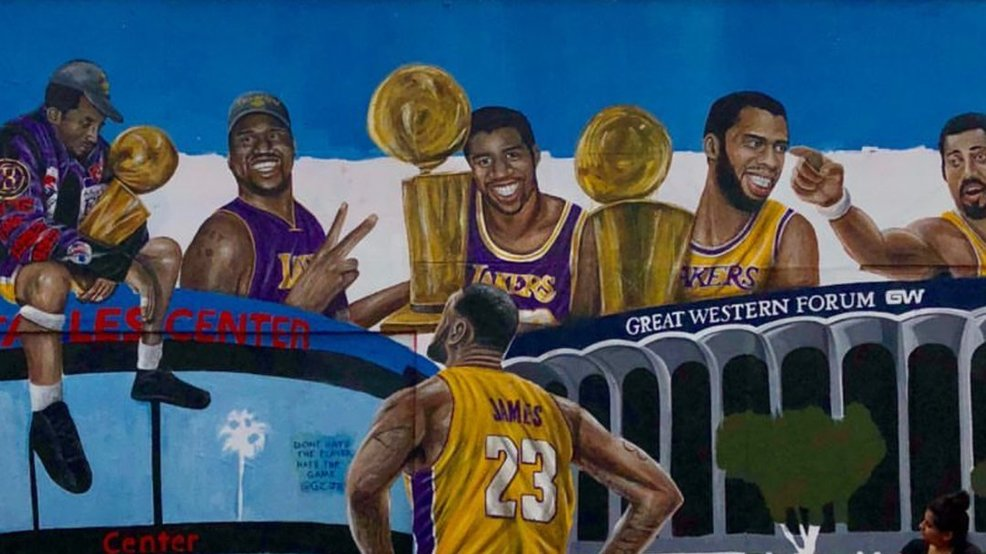 Lebron James Wallpaper Hd >> New mural features LeBron looking up at LA Lakers greats | WJLA