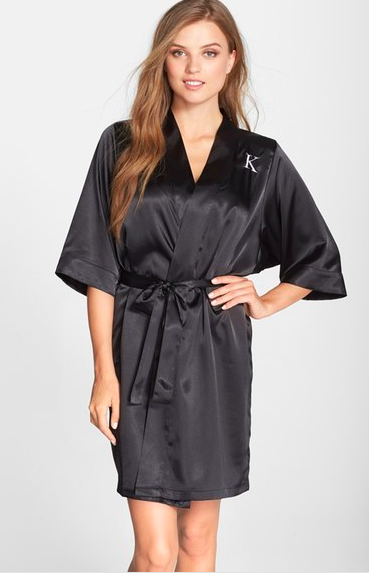 CATHY'S CONCEPTS Monogram Satin Robe ($58.00). Find on nordstrom.com. (Image courtesy of Nordstrom)