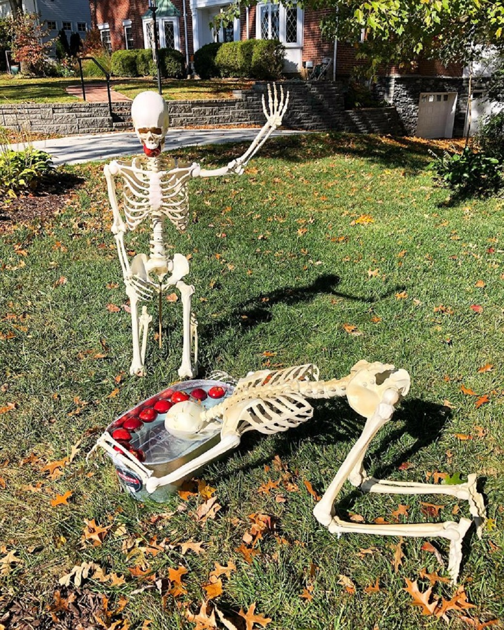"To celebrate the Halloween season, a couple in Park Hills poses a pair of skeletons in their yard in a variety of positions. From sunbathing to yoga to dancing, these skeletons (""Jack and Diane"") have a full schedule every day. Mark and Christy Walker are fairly new to the Cincinnati area and brought this idea with them all the way from Indianapolis. / Image courtesy of Mark & Christy Walker // Published: 10.31.19"