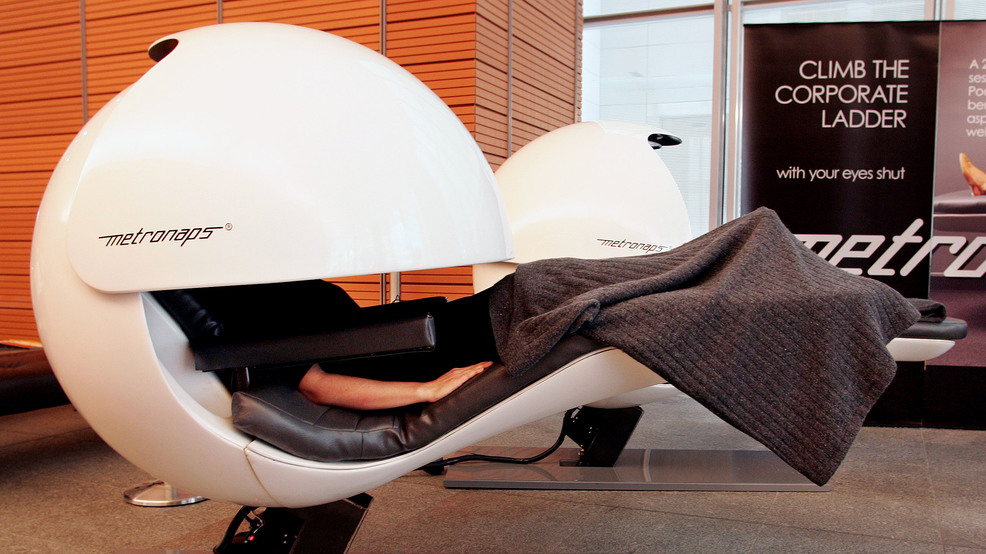 Athena Dogias Takes A Nap In Sleep Pod Central Business District Office Building Sydney Tuesday May 16 2006 Busy Workers Are Invited To Put