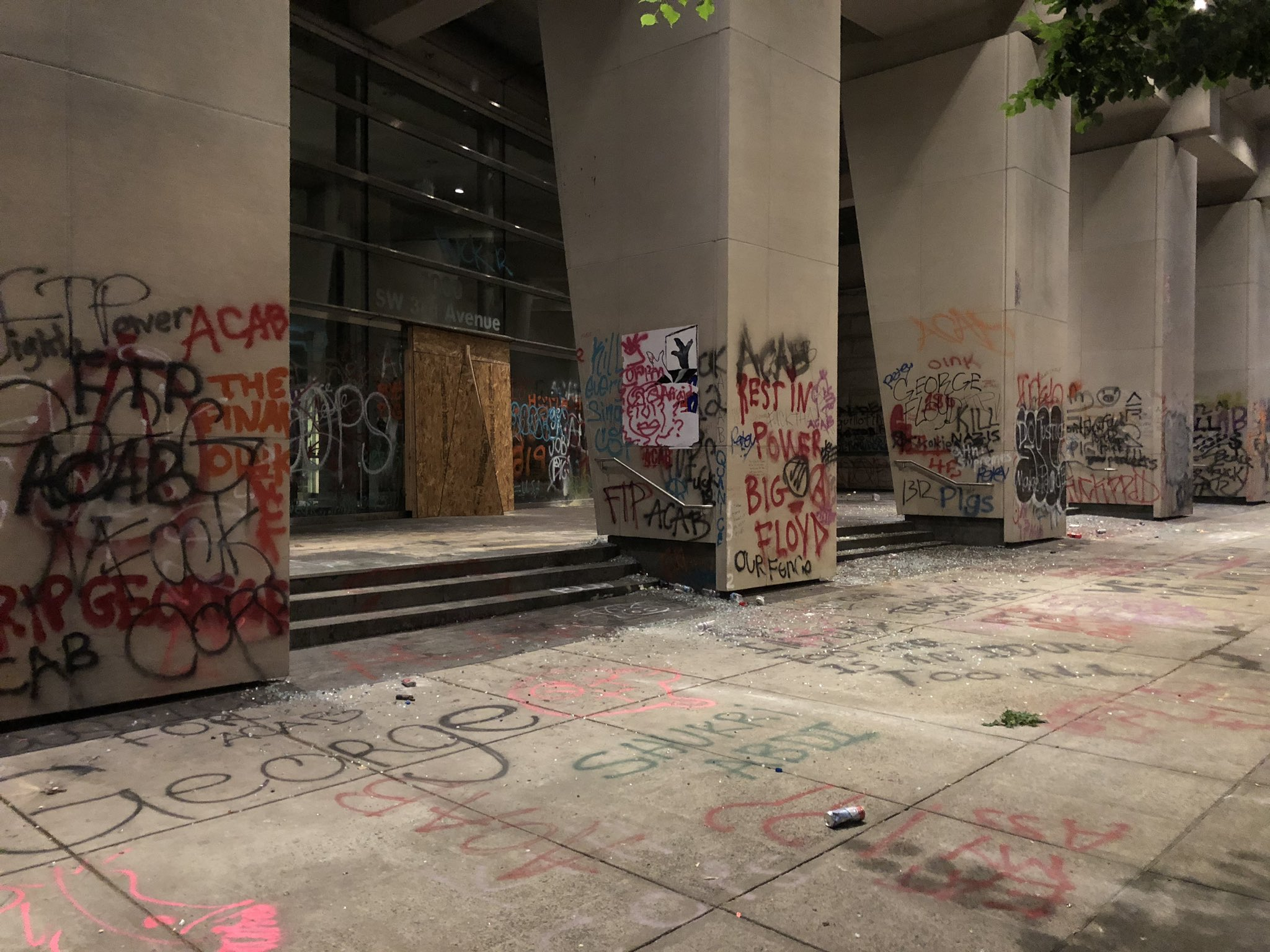 Police said demonstrators broke windows and started a fire inside the federal courthouse building in downtown Portland the night of July 2, 2020 and in the early morning hours. KATU photo