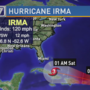 Hurricane Irma showing possible path into Gulf of Mexico