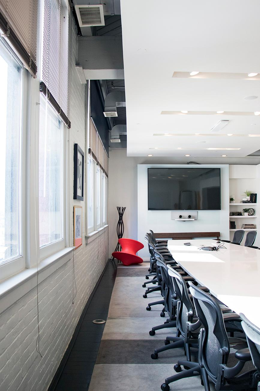 "FRCH's conference room called ""Paris"" offers employees a vibrant and tech-savvy space to get down to business. / Image: Allison McAdams // Published: 9.25.18"